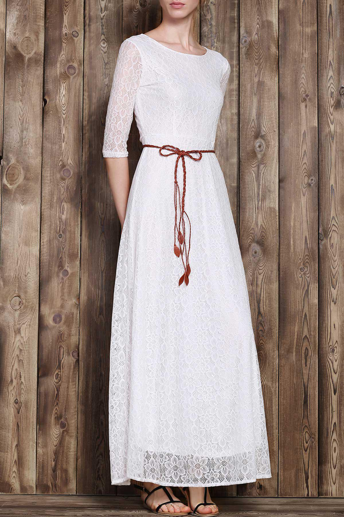 Graceful Solid Color 3/4 Sleeve Hollow Out Maxi Dress For Women - WHITE S