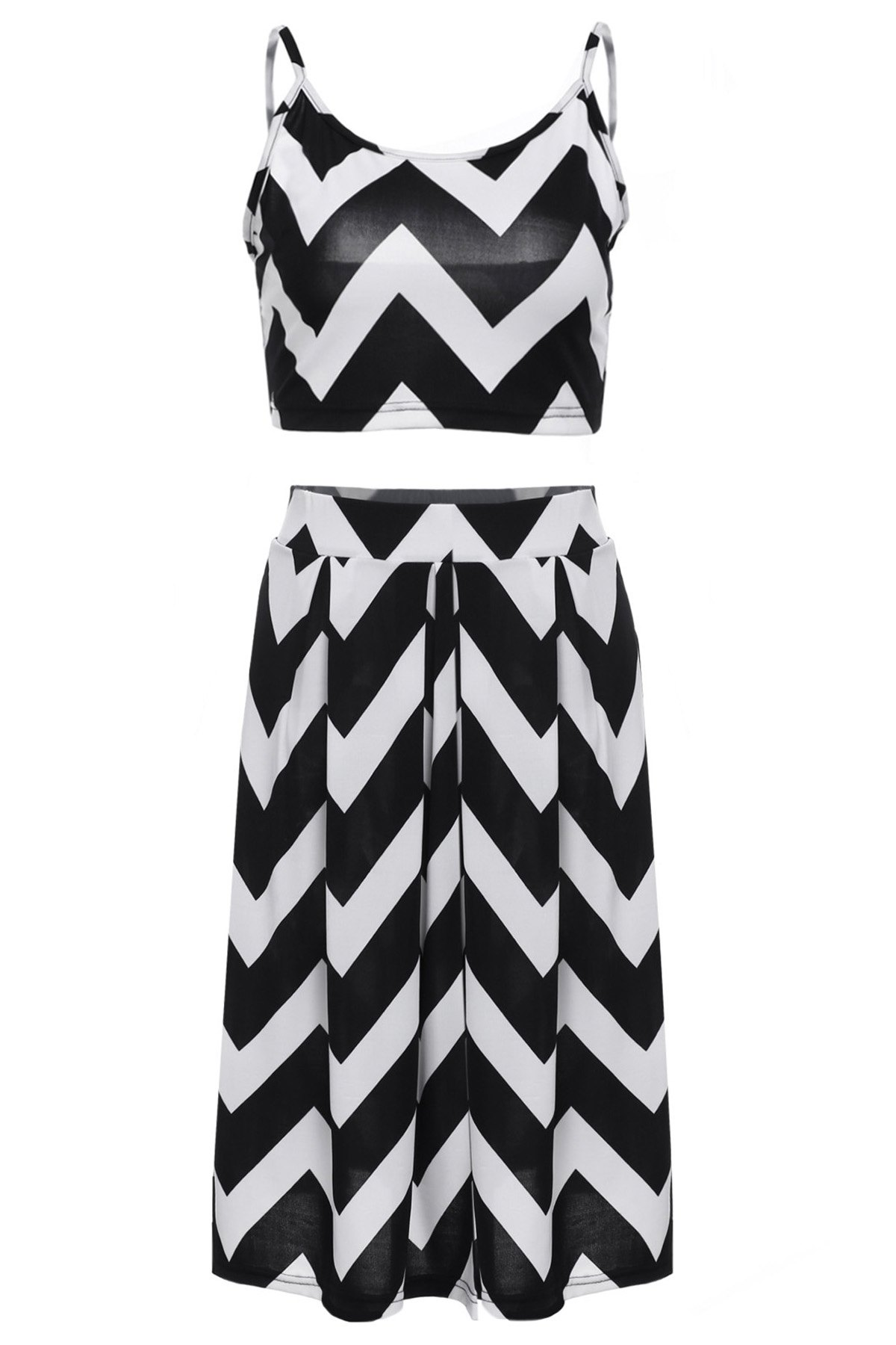Stylish Spaghetti Strap Tank Top + Wave Print High-Waisted Skirt Women's Twinset - WHITE/BLACK L
