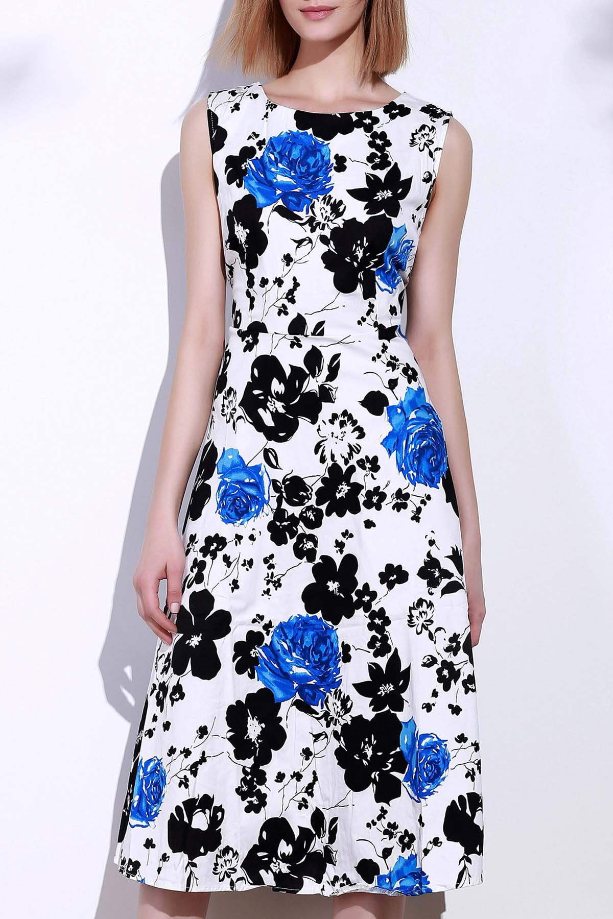 Round Neck Sleeveless Floral Print Women's Dress - BLUE 3XL
