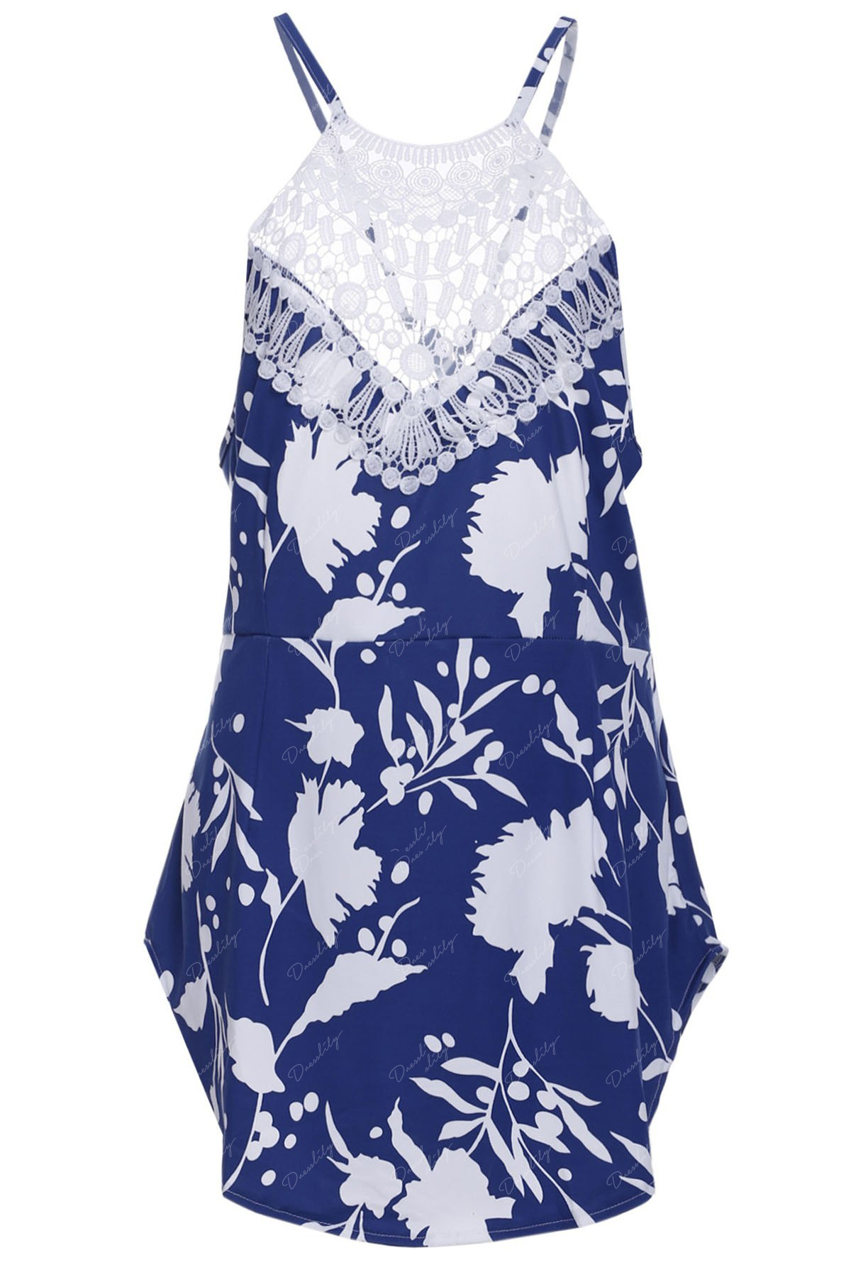 Chic Round Collar Sleeveless Backless Floral Print Women's Dress - BLUE/WHITE M