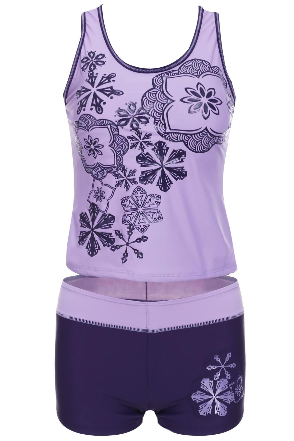 Stylish Printed Scoop Neck Two-Piece Swimsuit For WomenWomen<br><br><br>Size: L<br>Color: PURPLE