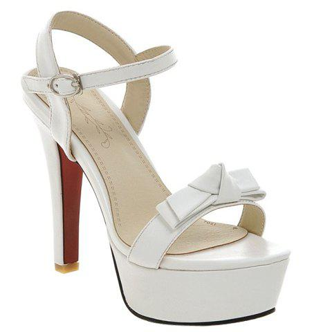 Stylish Platform and Bow Design Women's Sandals - WHITE 39