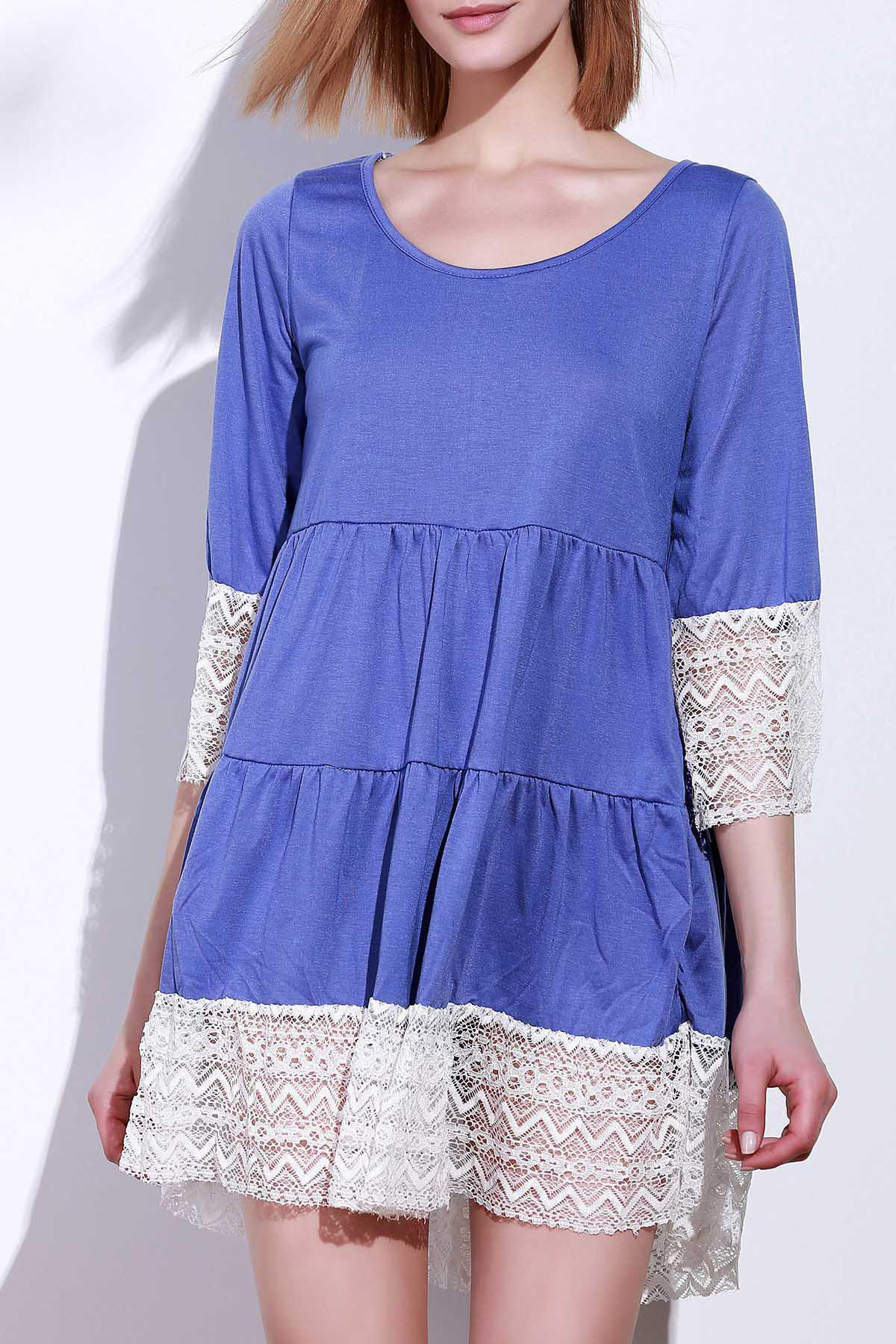 Casual 3/4 Sleeve U-Neck Loose-Fitting Lace Splicing Women's Dress фото