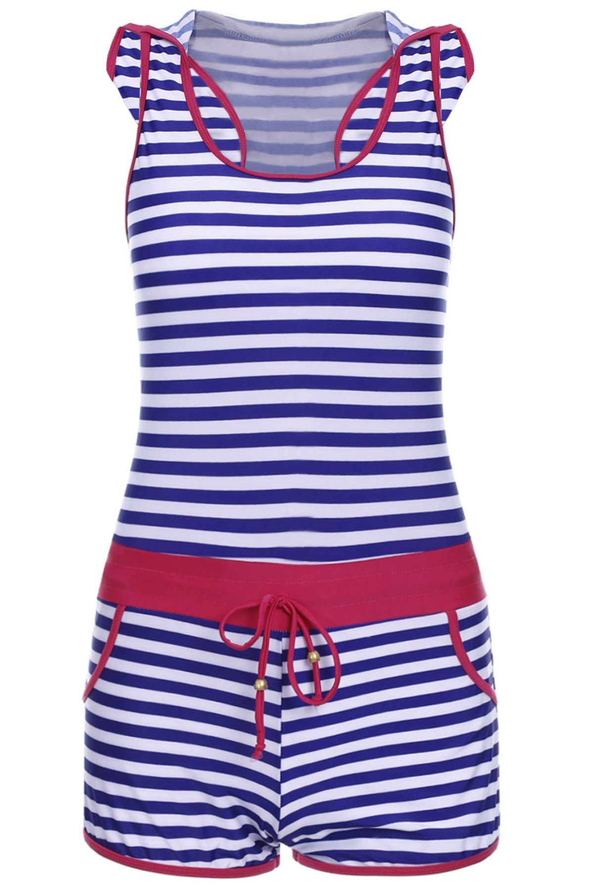 Chic Sleeveless Hooded Striped One-Piece Women's Swimwear