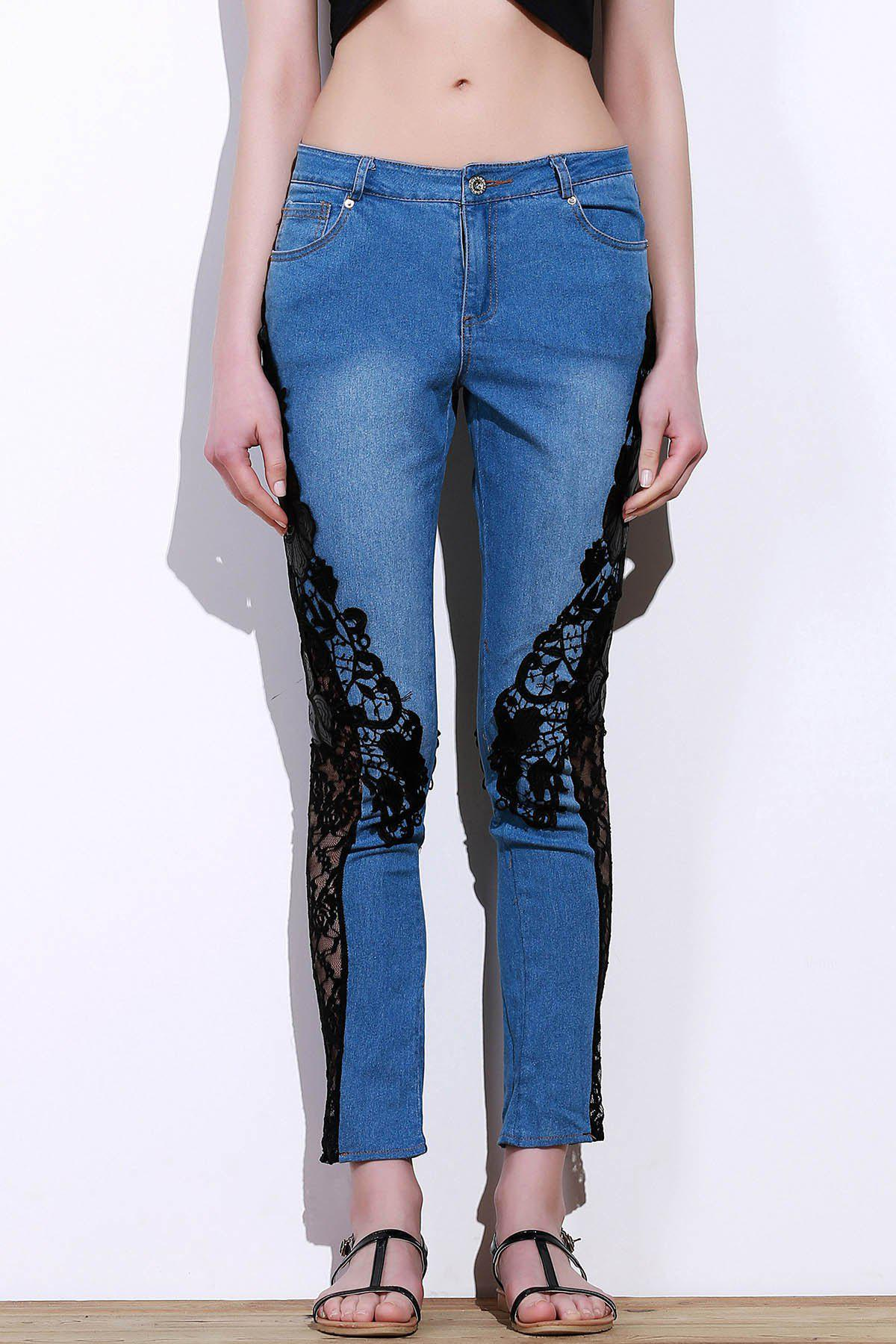 Stylish Mid-Waisted See-Through Lace Embellished Women's Jeans - BLUE/BLACK M
