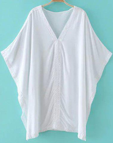 Chic Batwing Sleeve V Neck Lace Design Women's Cover-Up - WHITE ONE SIZE(FIT SIZE XS TO M)
