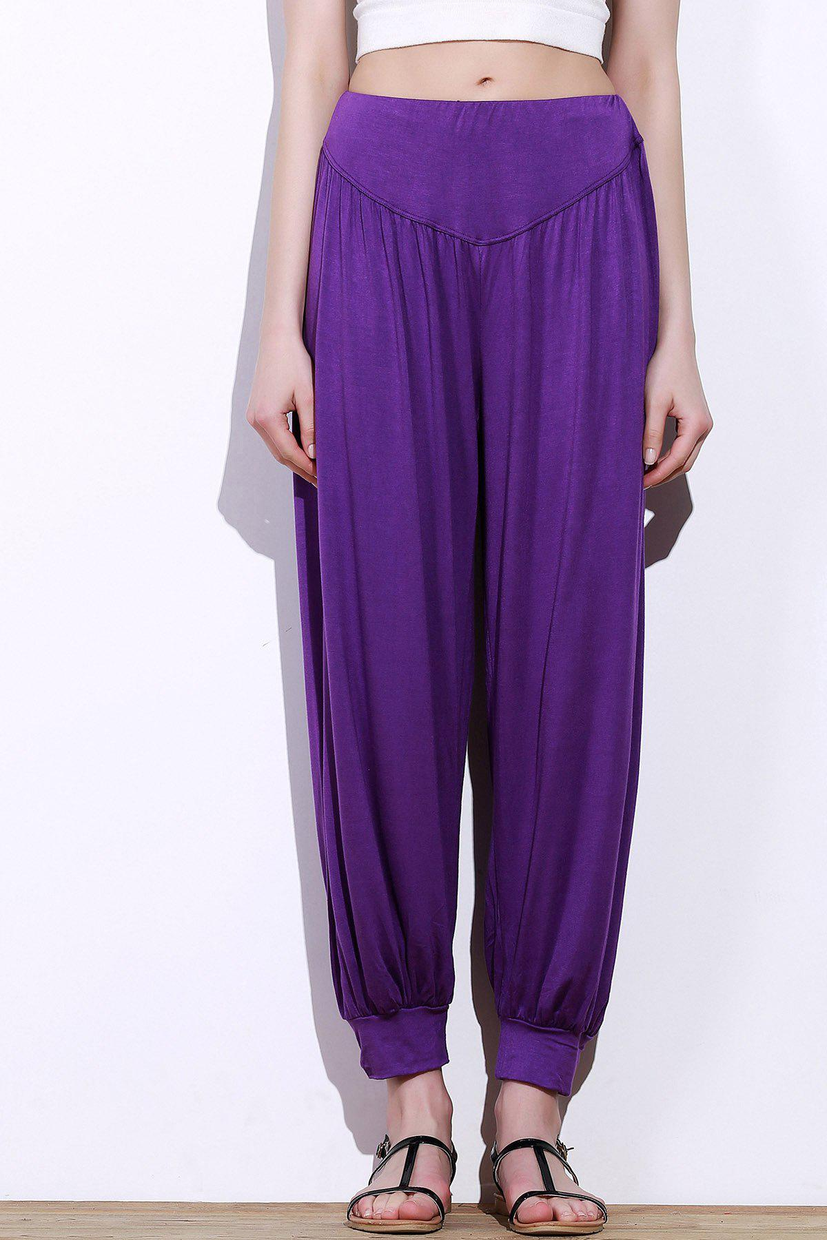 Stylish Elastic Waist Loose-Fitting Solid Color Women's Pants - PURPLE L