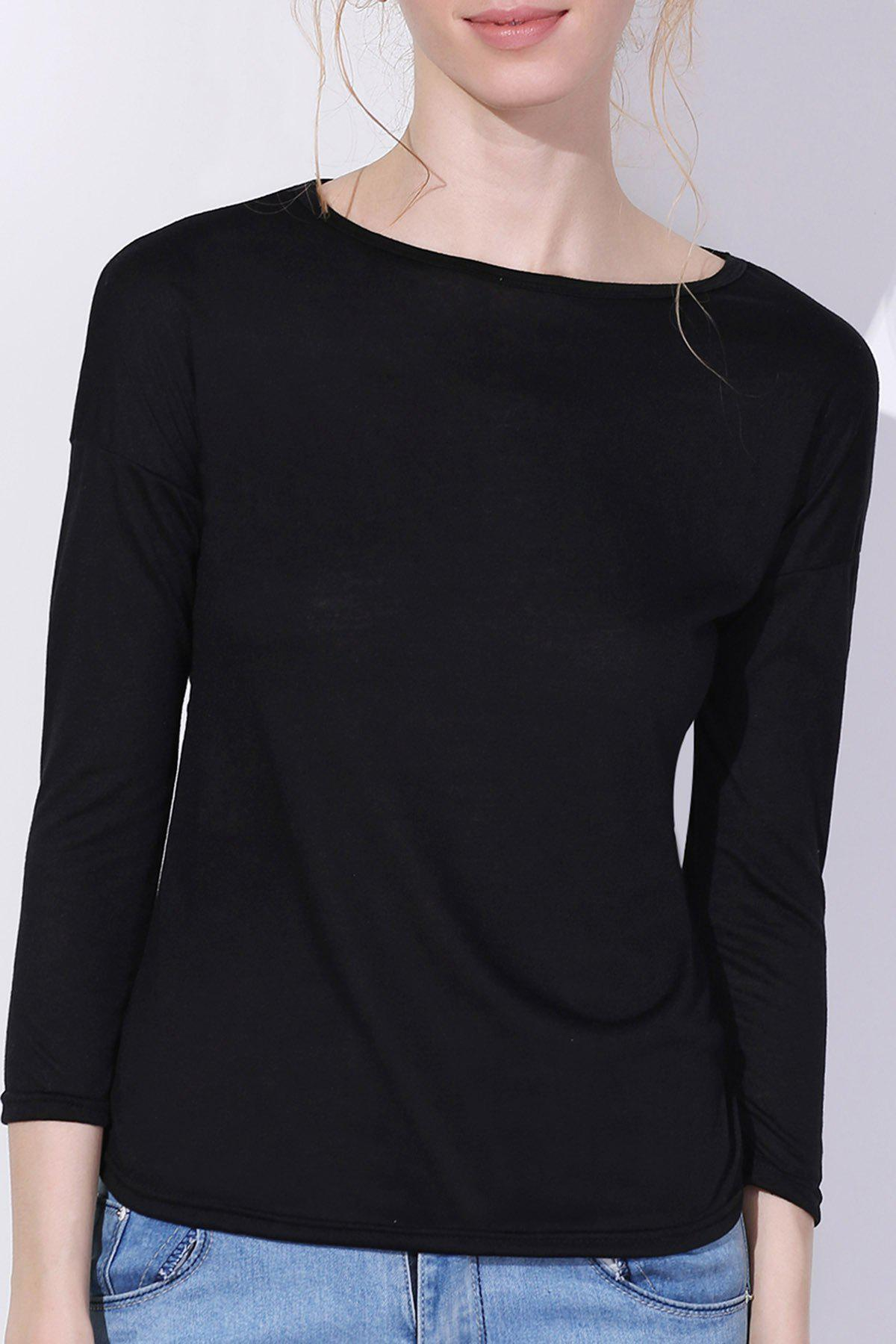 Charming Scoop Neck Solid Color 3/4 Sleeve T-Shirt For Women - BLACK S