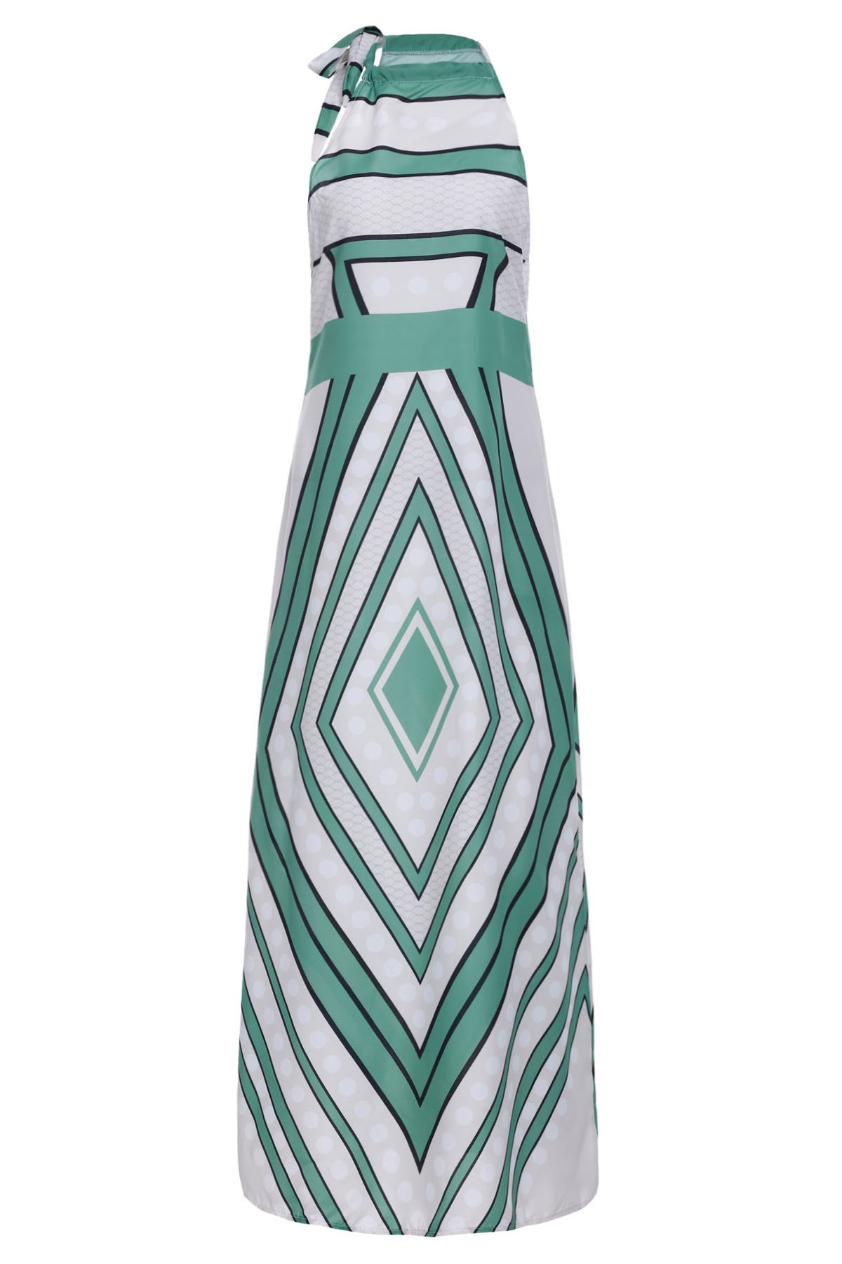 Fashionable Round Collar Paisely Print Sleeveless Women's Maxi Dress - GREEN S