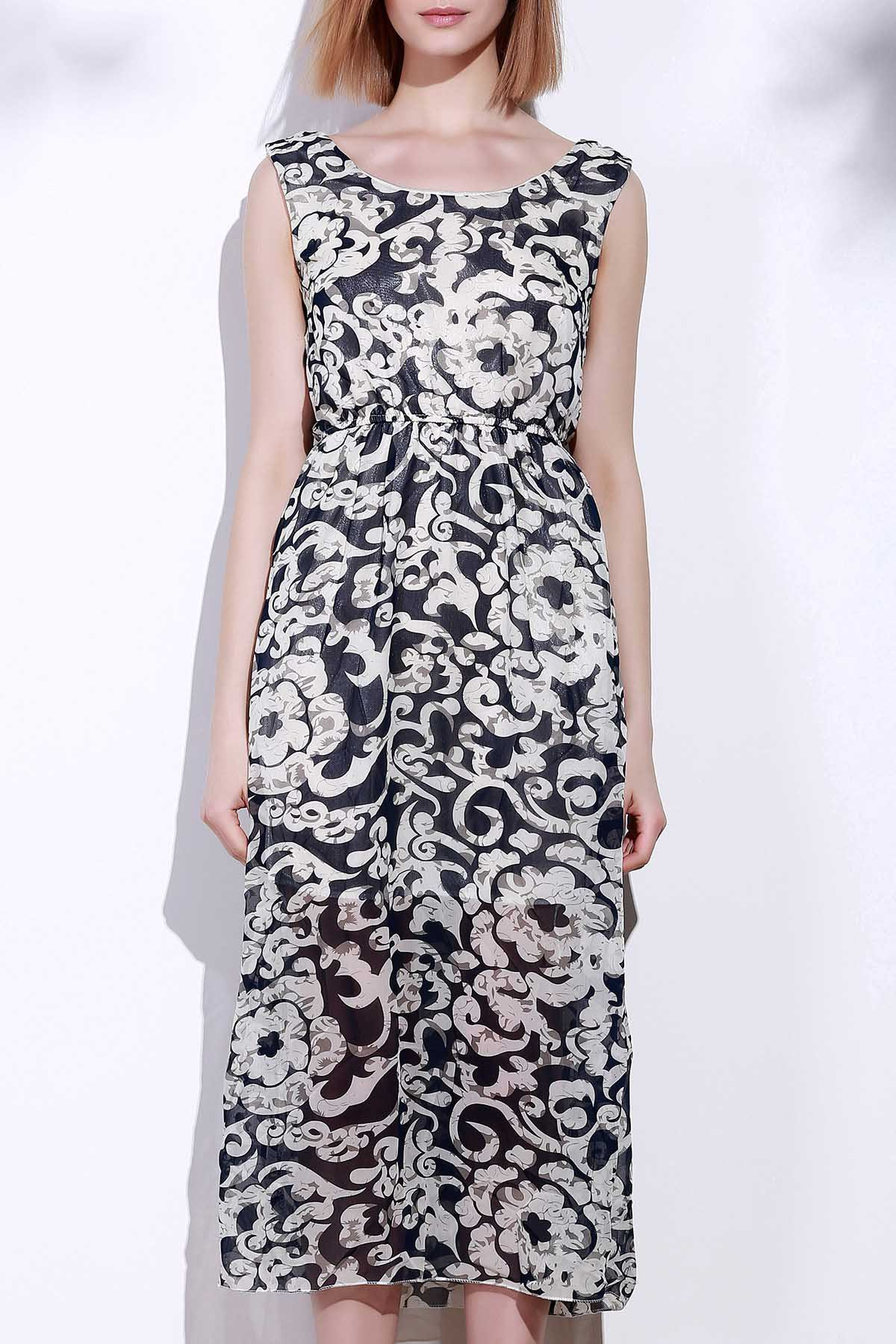 Attractive Sleeveless Printed Porcelain Maxi Dress For Women - BLUE ONE SIZE(FIT SIZE XS TO M)