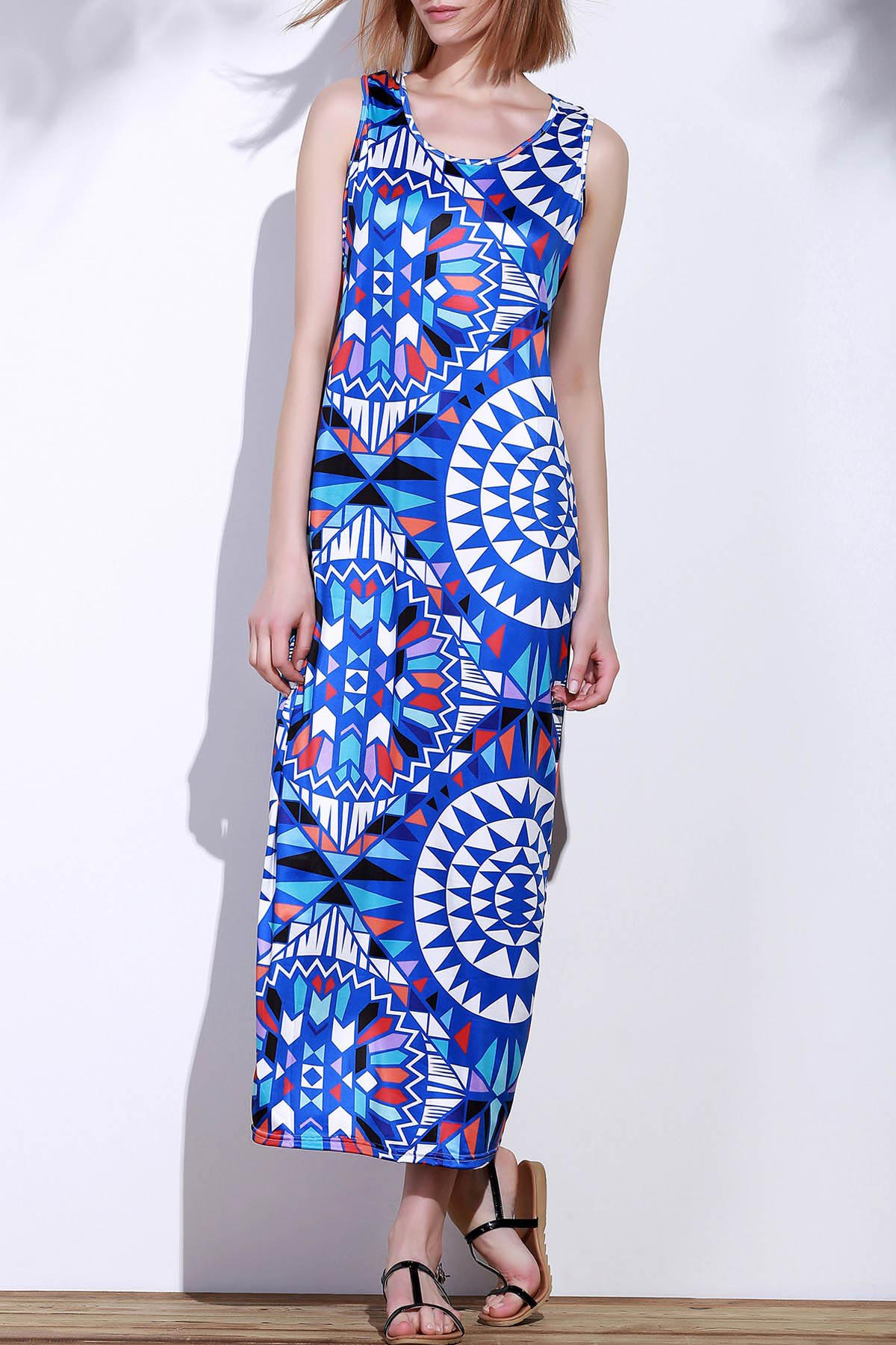 Bohemian Scoop Neck Sleeveless Printed Women's Maxi Dress - BLUE S