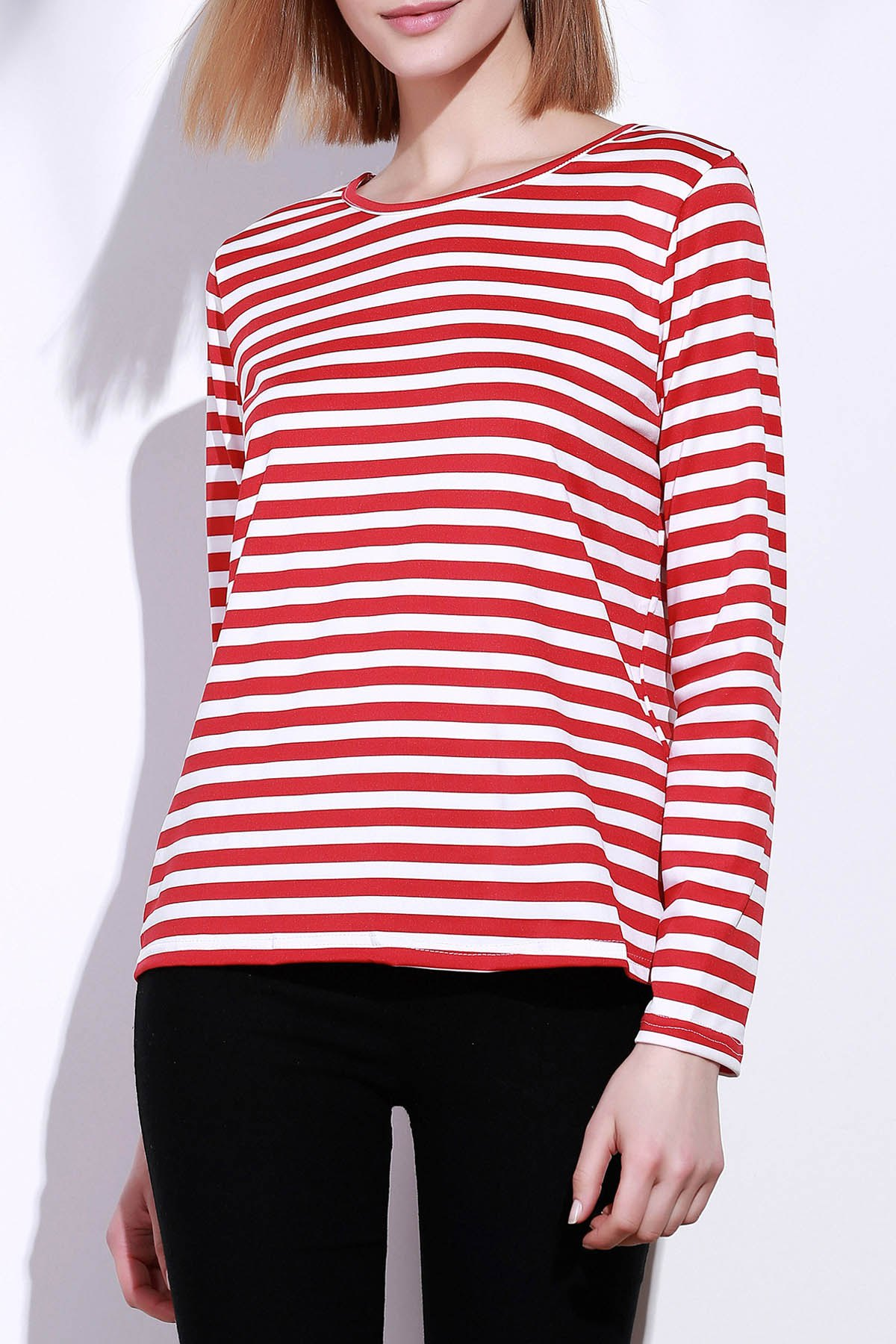 Casual Round Collar Stripes Print Long Sleeve Women's T-Shirt - S RED