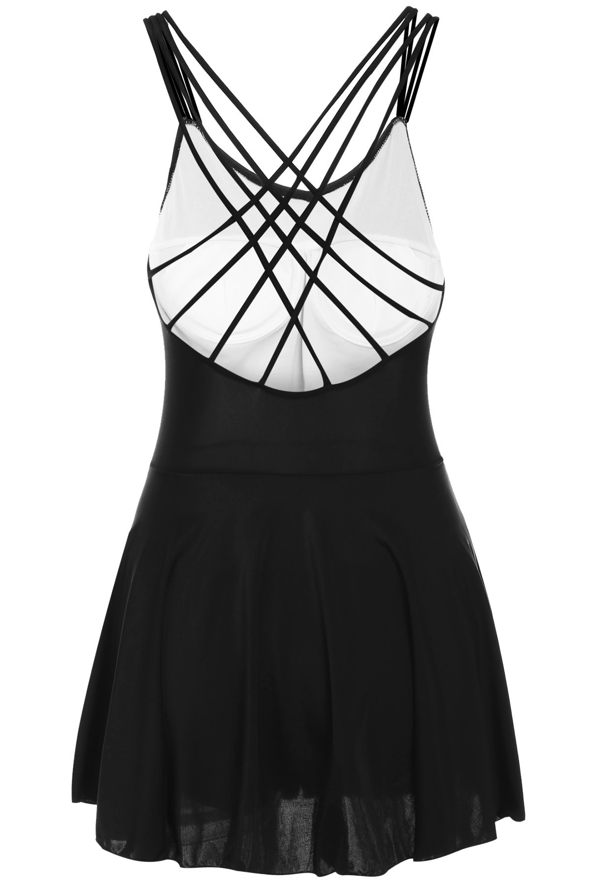Criss-Cross Strappy Swimsuit - BLACK M