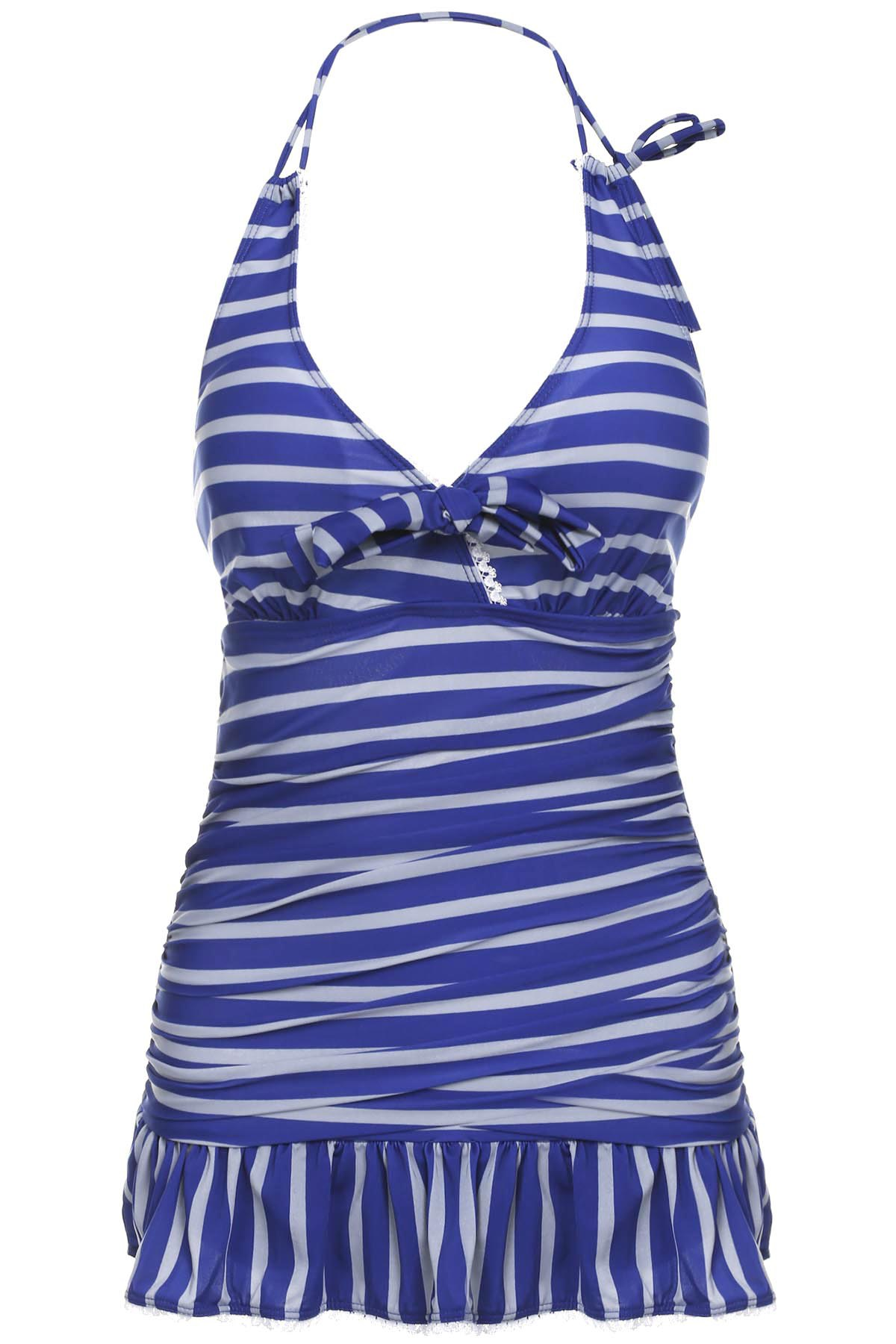 Navy Style Halter Neck Striped Color Matching Bowtie Embellished Ruffled Women's Swimwear - STRIPES M