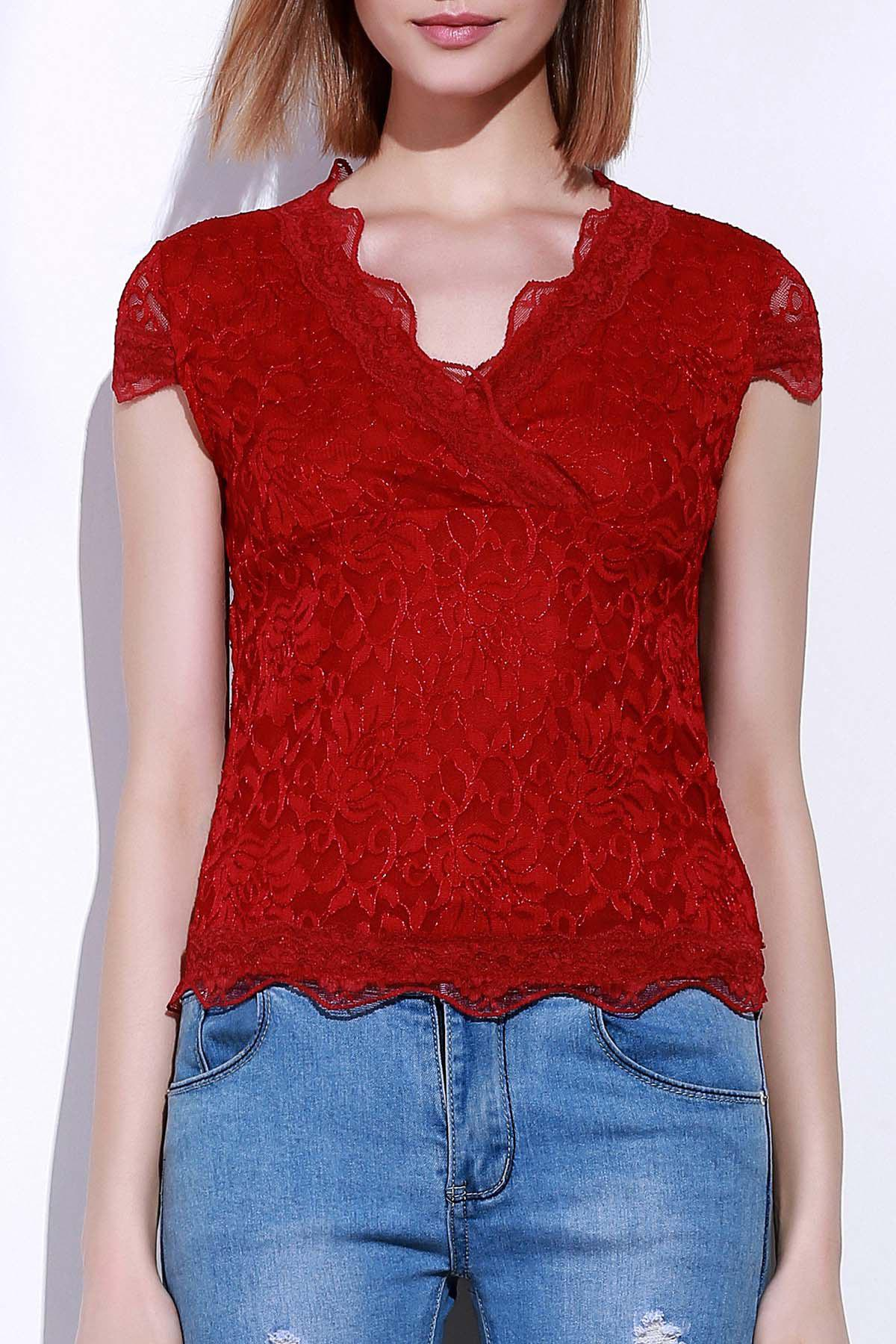 Stylish Short Sleeve Plunging Neck Lace Women's T-Shirt - RED S