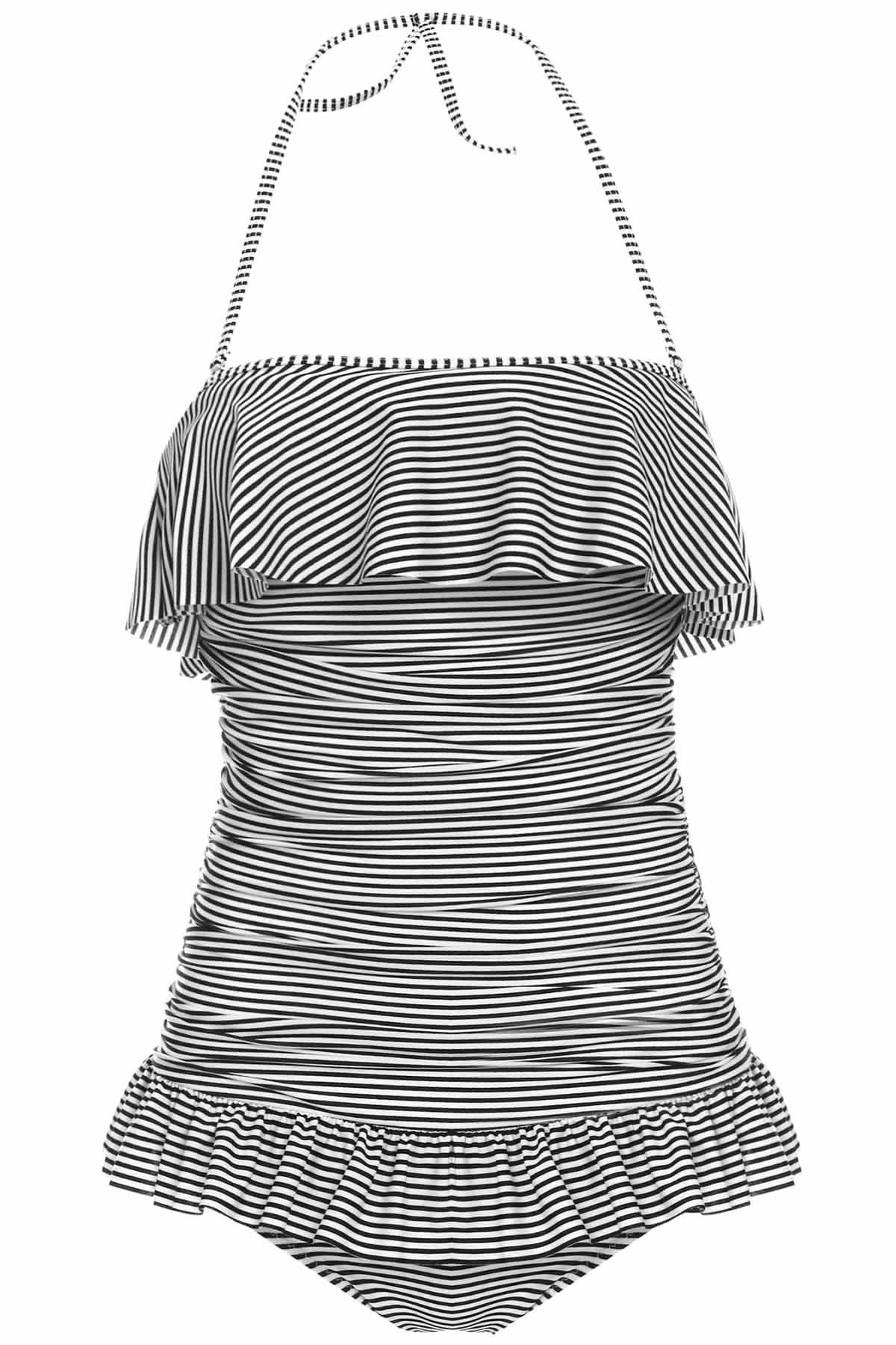Women's Charming Stripe Ruffles Backless One Piece Swimsuit - STRIPE M