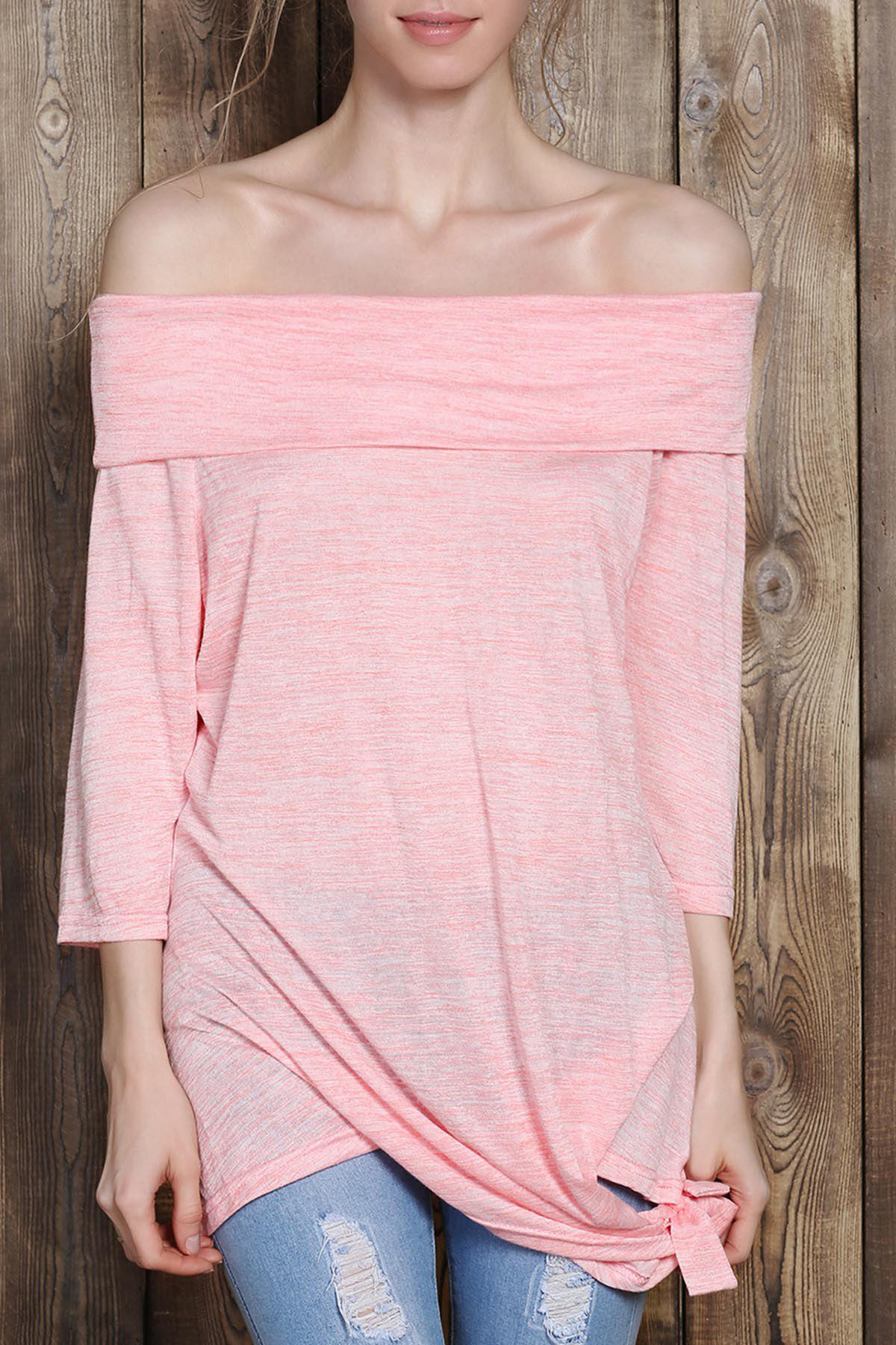 Fashionable Off-The-Shoulder Solid Color Plus Size 3/4 Sleeve Women's T-Shirt - PINK 2XL
