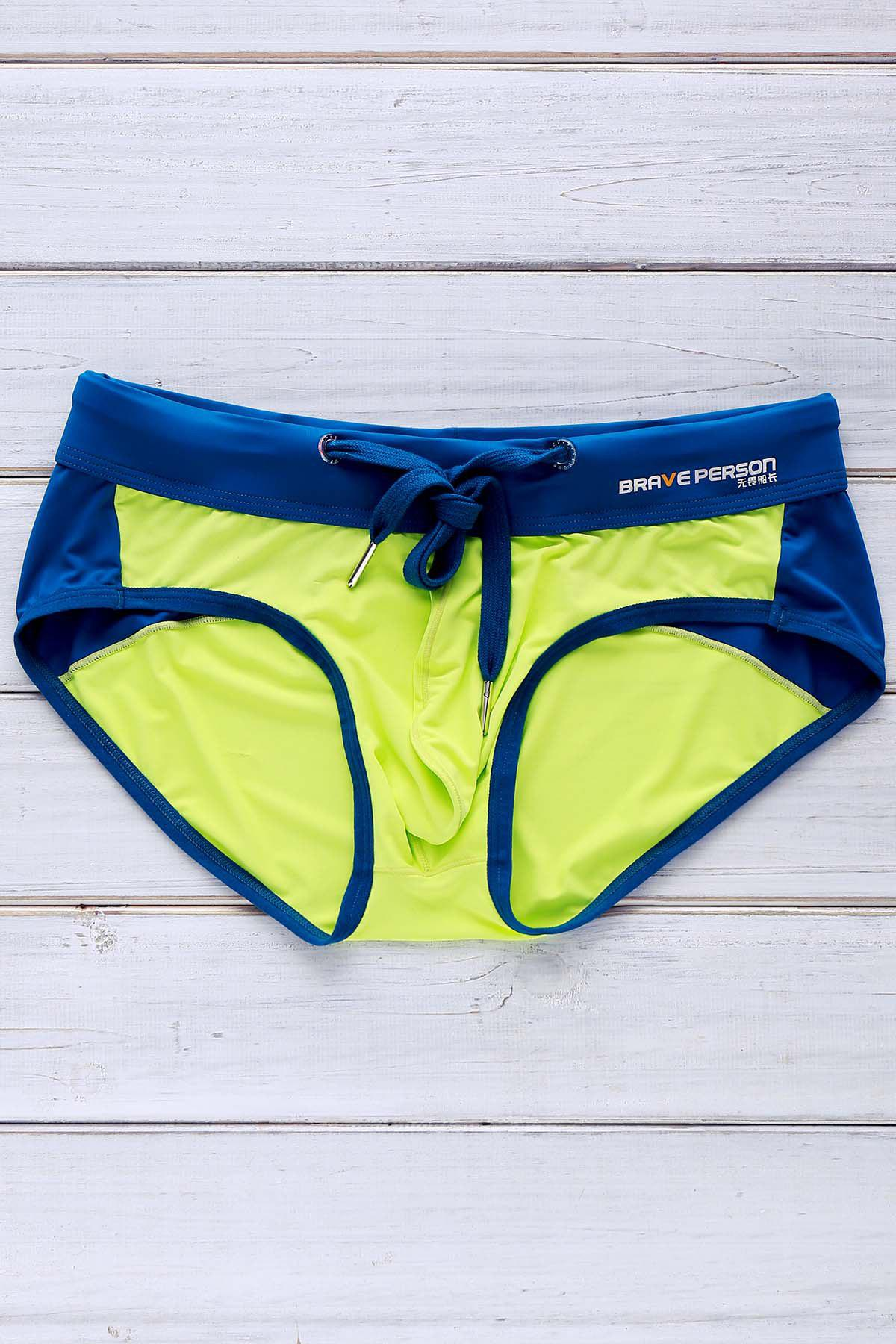 Letter Printed Color Block Sexy Men's Swimming Trunks - NEON GREEN L
