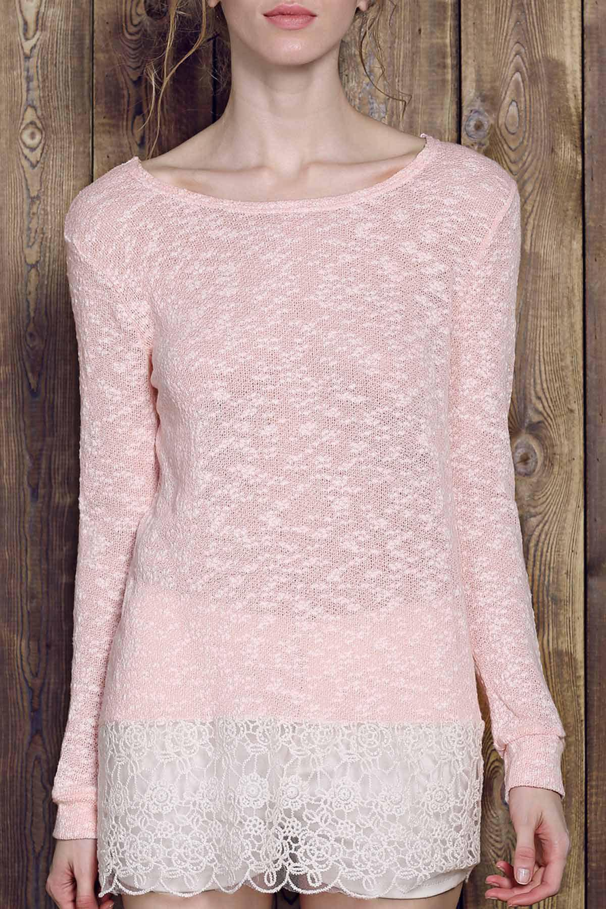 Lace Edge Long Sleeve T-Shirt - PINK M