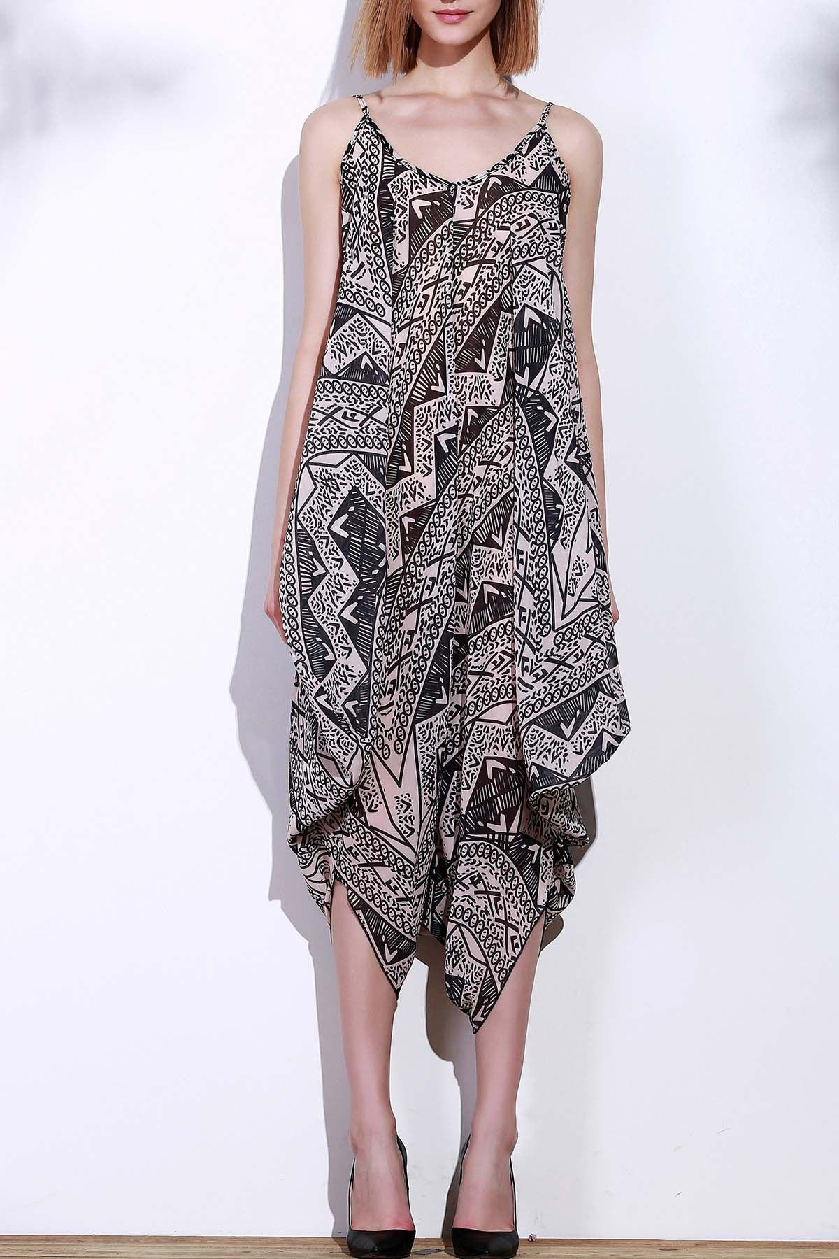 Stylish Sleeveless Spaghetti Strap Printed Womens Baggy JumpsuitWomen<br><br><br>Size: XL<br>Color: BLACK AND GREY