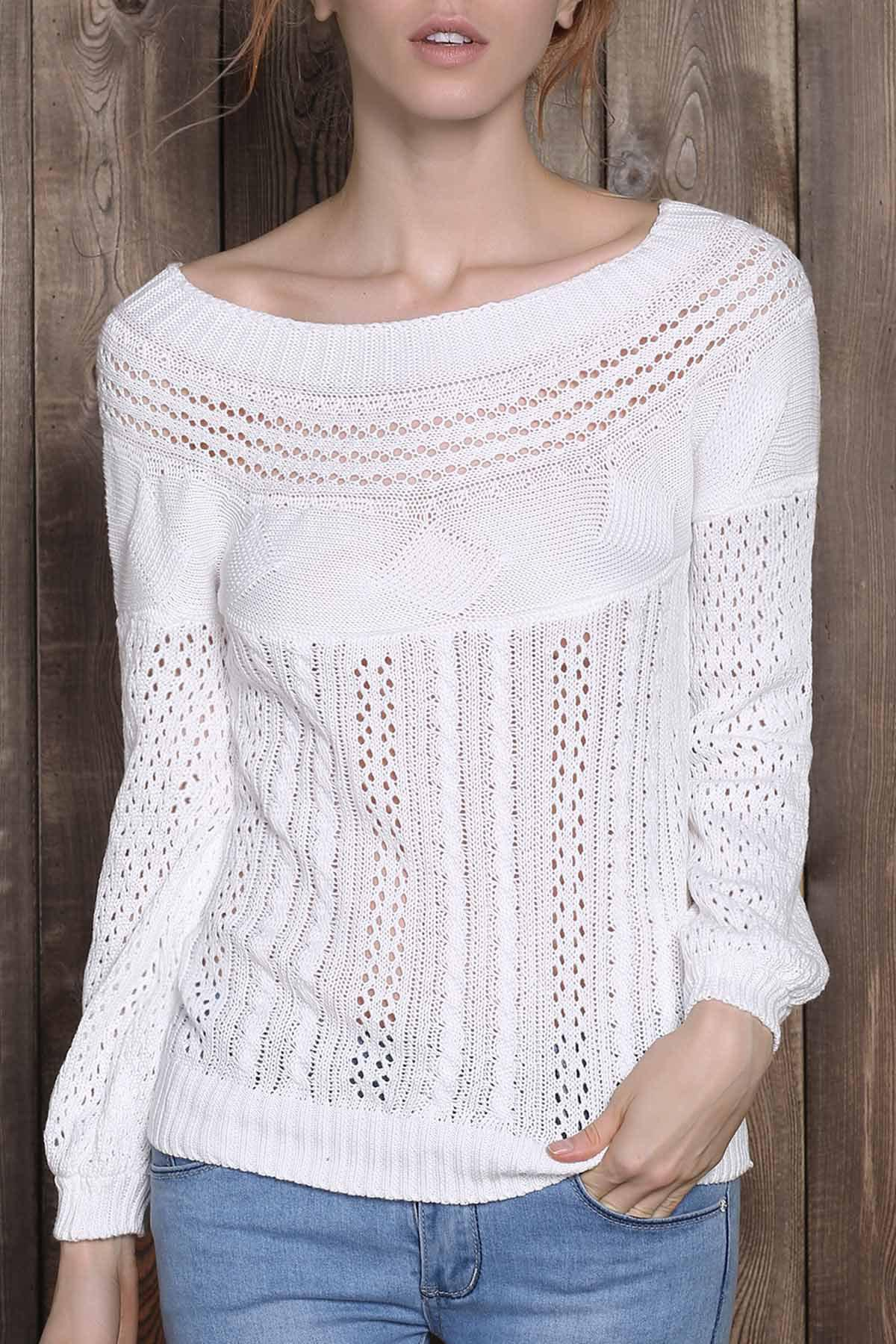 Chic Long Sleeve Boat Neck Pure Color Women's Sweater