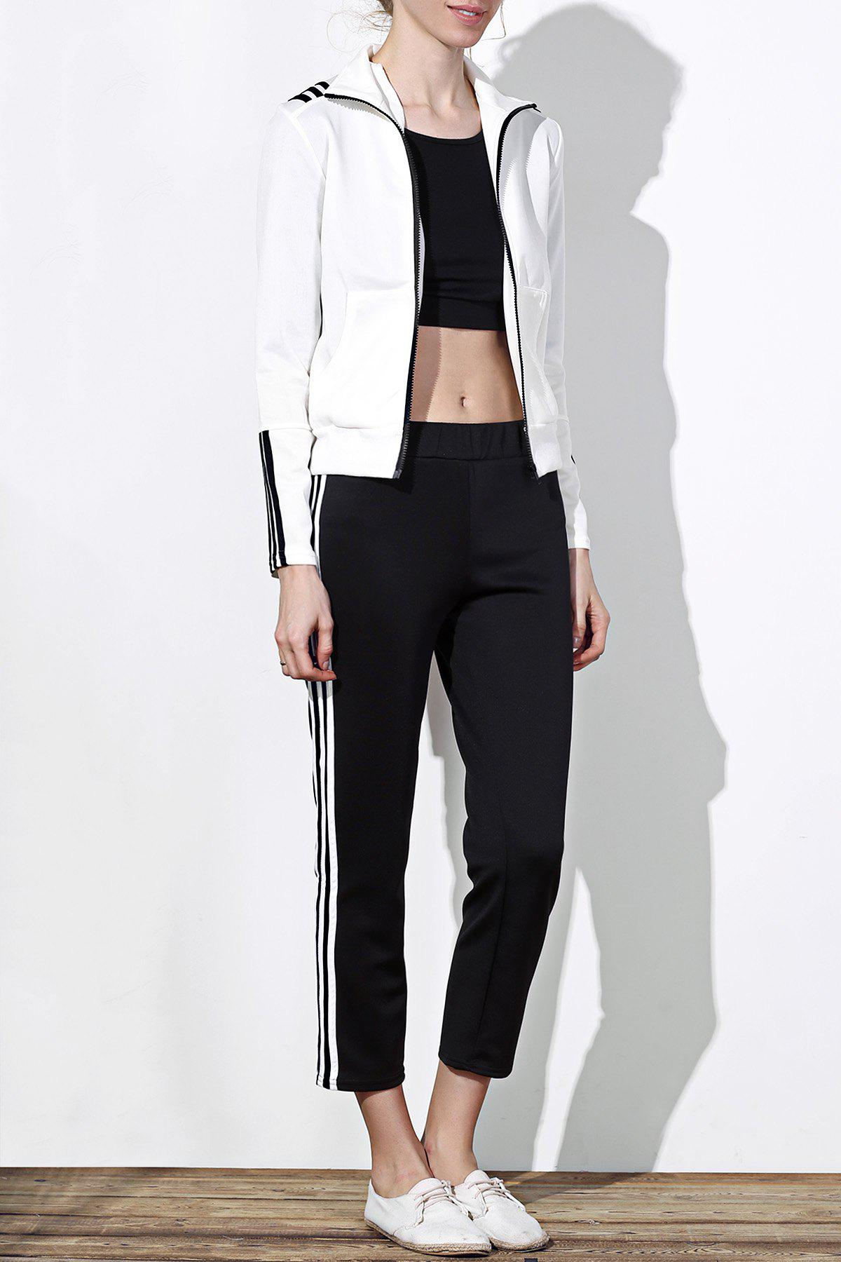 Active Long Sleeve Stand-Up Collar Striped Jacket + Mid-Waisted Pants Women's Twinset - WHITE/BLACK S