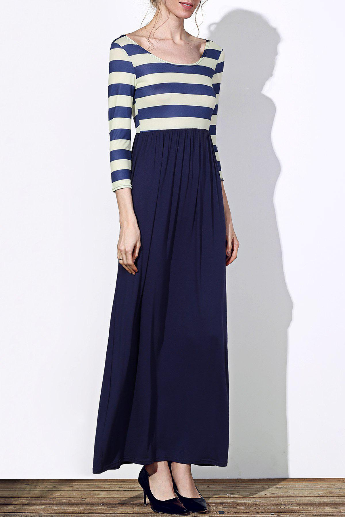 Trendy 3/4 Sleeve Scoop Neck Striped Women's Maxi Dress - DEEP BLUE S