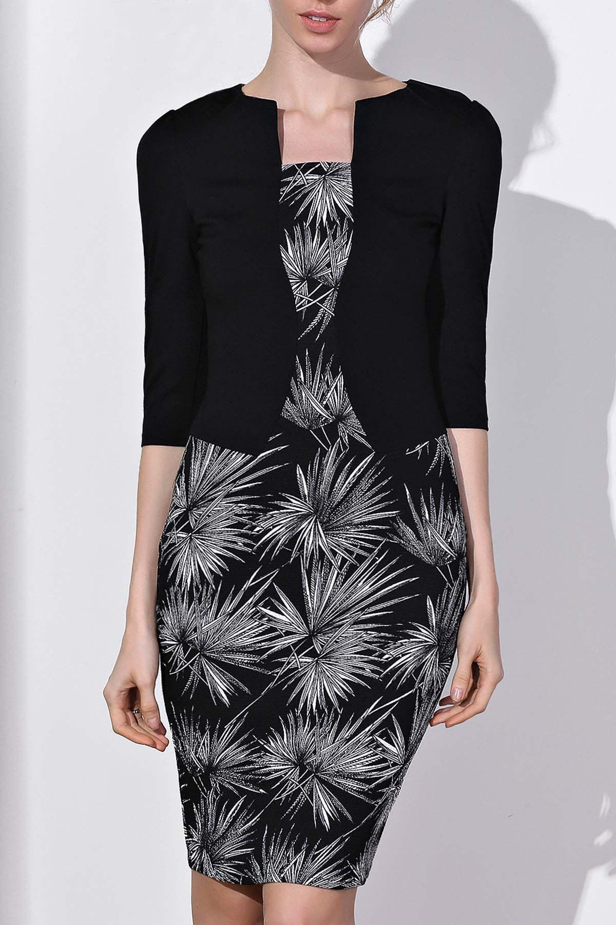 OL Style 3/4 Sleeve Round Neck Faux Twinset Printed Women's Dress