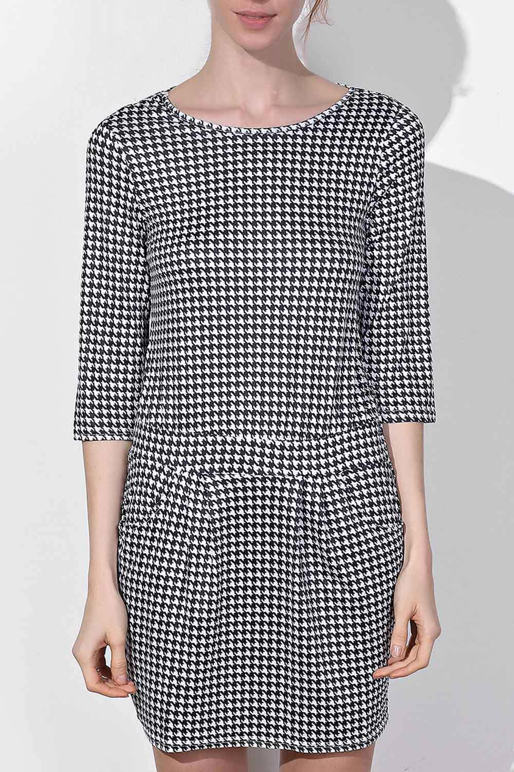 Trendy Houndstooth Printed Round Collar 3/4 Sleeve Dress For Women - S BLACK