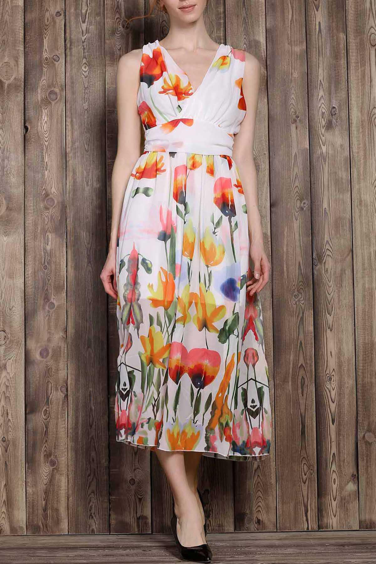 Gorgeous Sleeveless V-Neck Tropical Print Women's Dress - COLORMIX S
