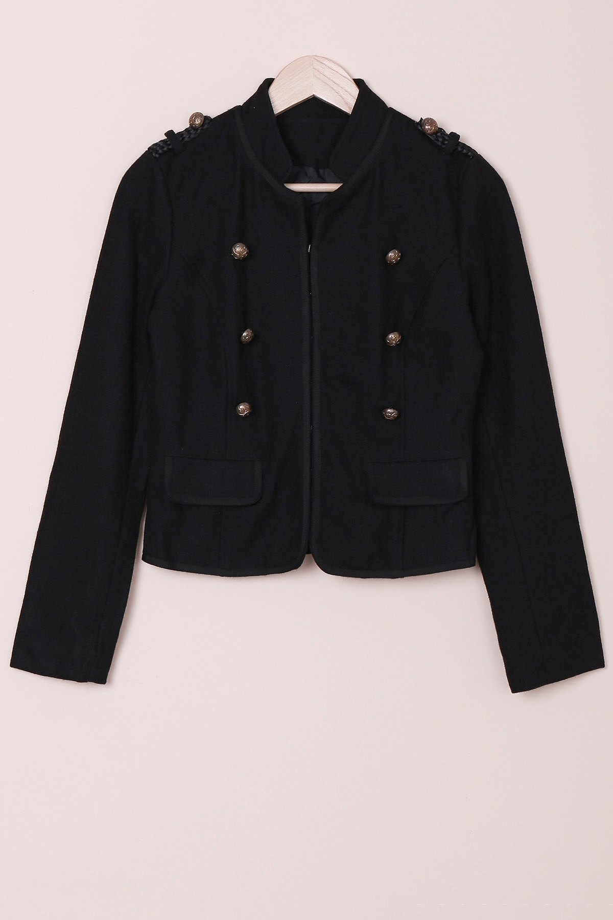 Fashionable Women's Stand Collar Long Sleeves Buttoned Worsted Jacket - BLACK S