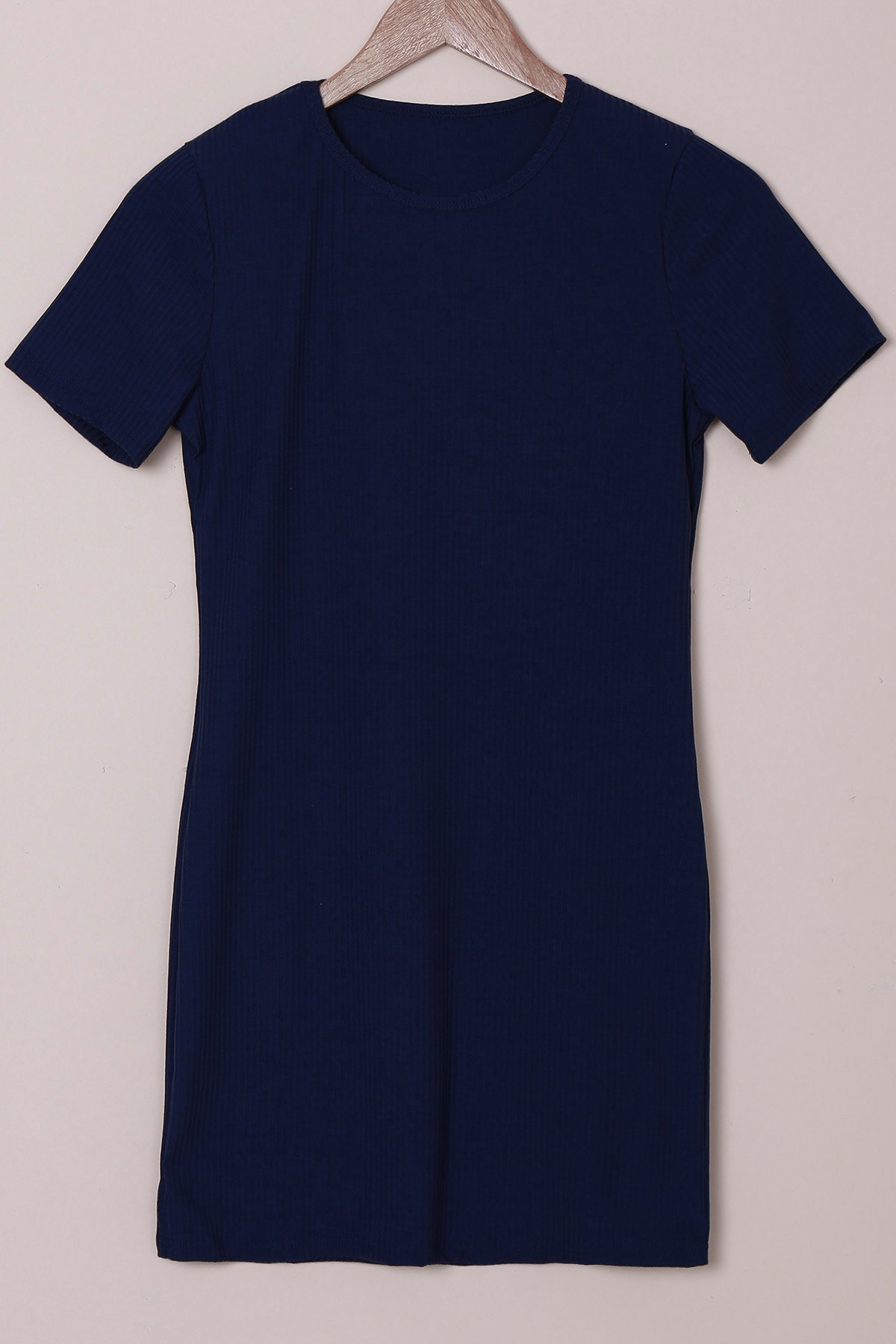 Brief Purplish Blue Round Collar Short Sleeve Dress For Women - PURPLISH BLUE M