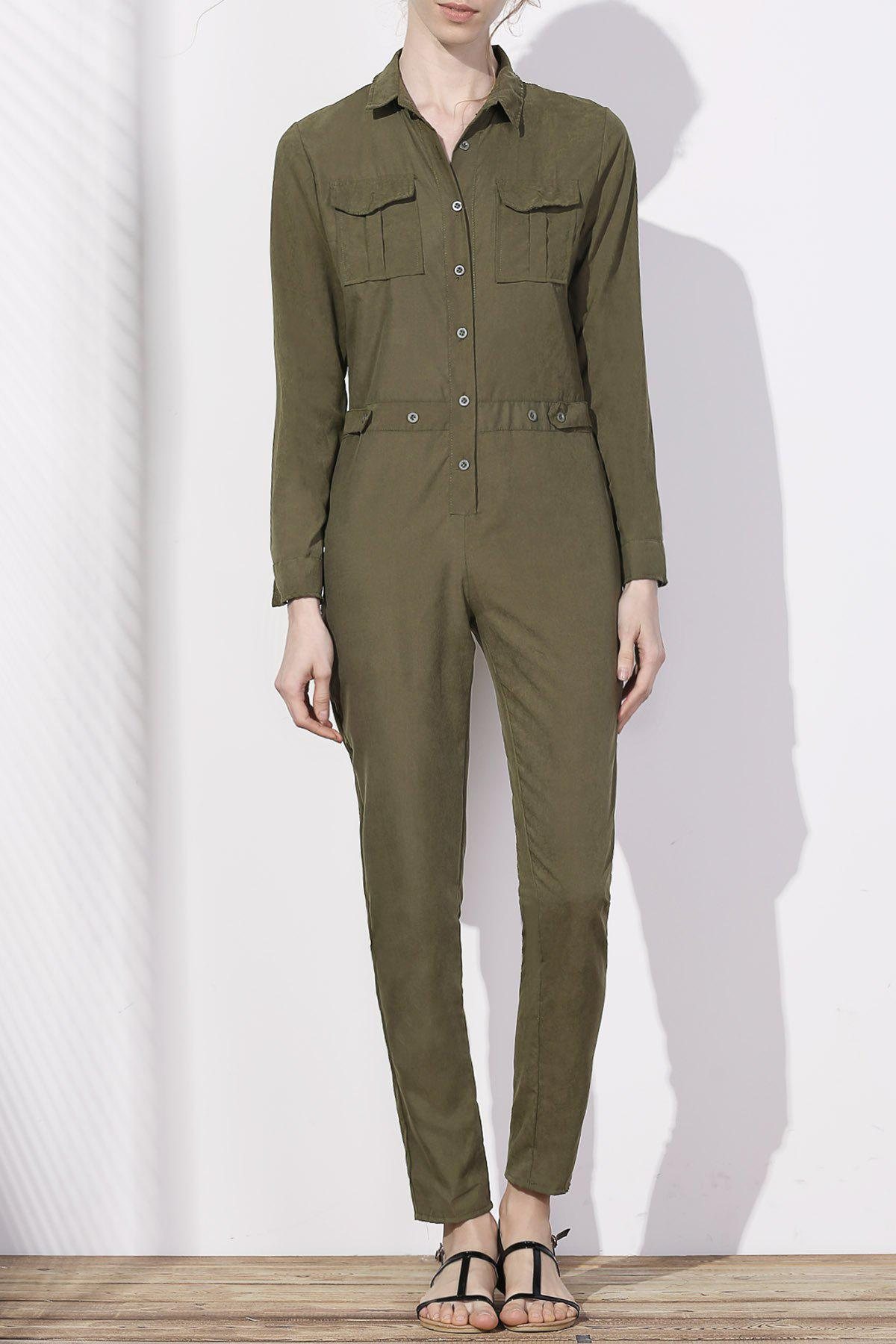 Stylish Women's Shirt Collar Long Sleeves Single-Breasted Jumpsuit - ARMY GREEN XL