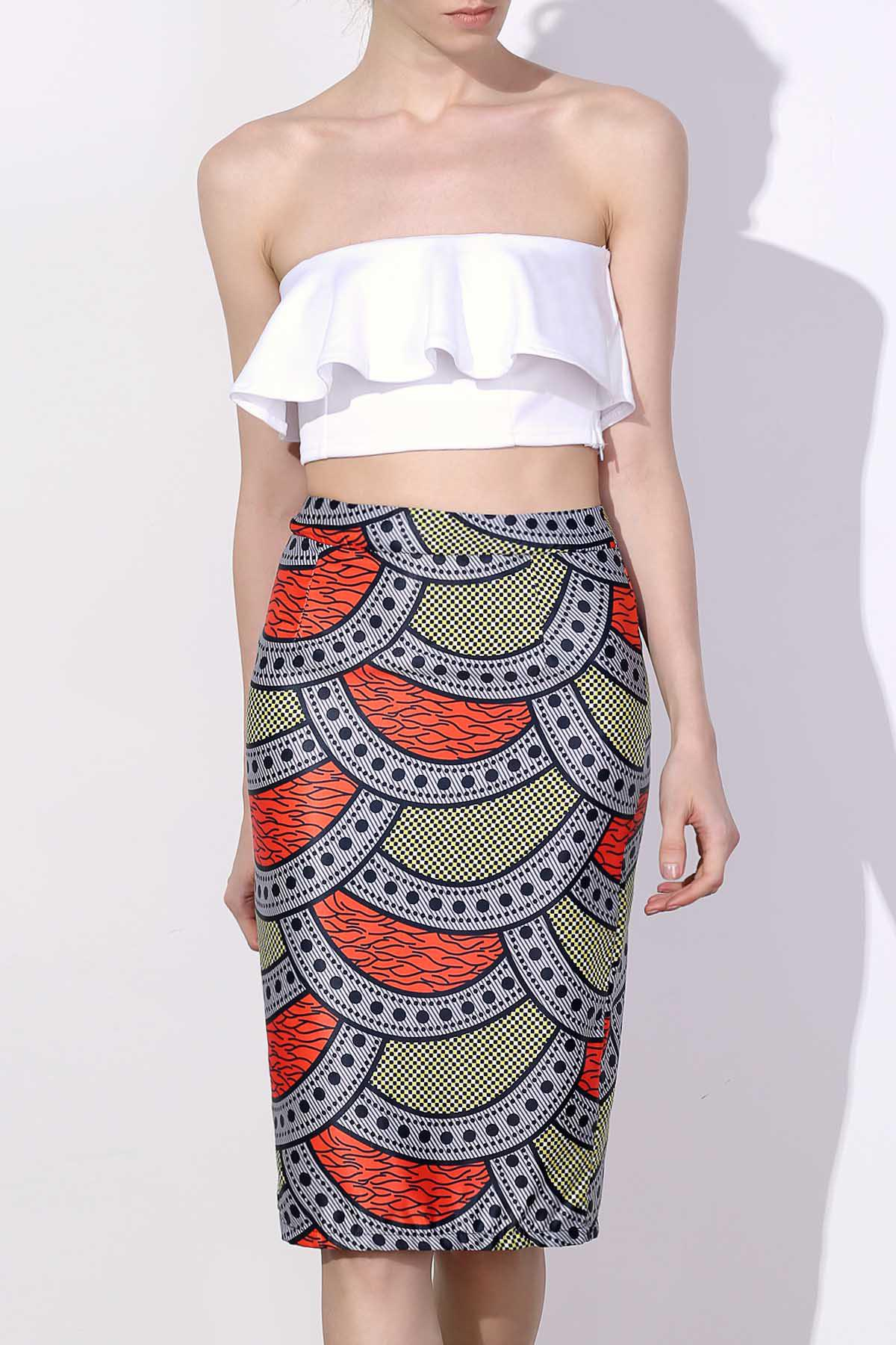 Stylish High-Waisted Bodycon Printed Women's Skirt - S COLORMIX