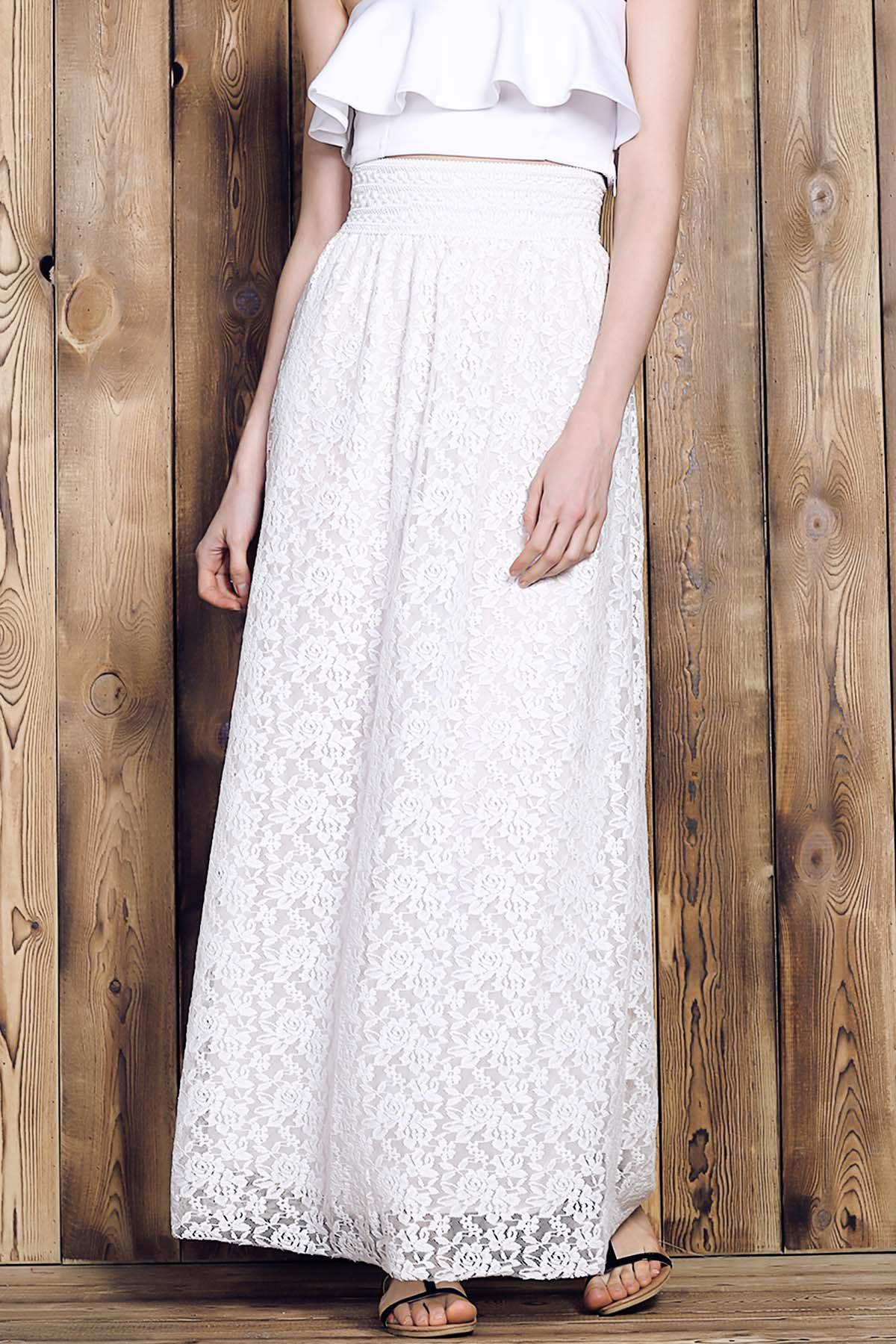 Elegant Women's High-Waisted Lace Maxi Skirt - WHITE S