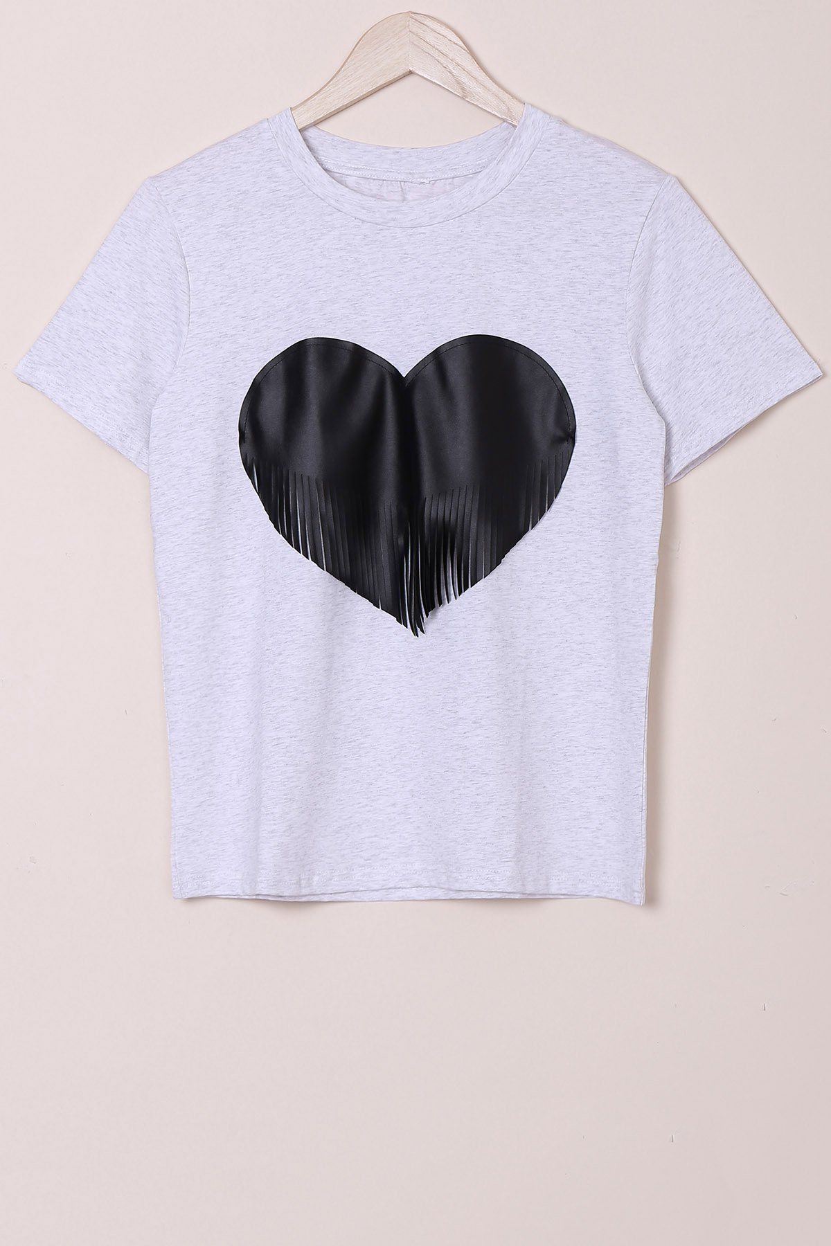 Casual Round Collar Heat Shape Printed Tassel Design T-Shirt For Women - LIGHT GRAY M