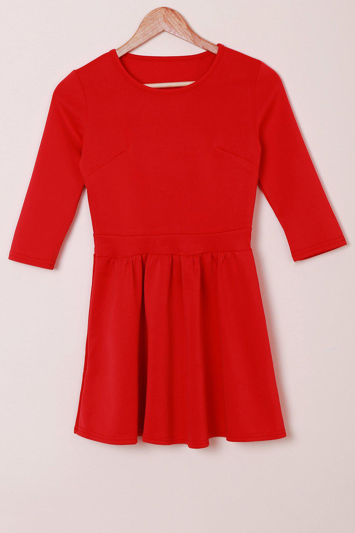 Refreshing Jewel Neck 3/4 Sleeve Solid Color High Waist Pleated Mini Dress For Women - RED S