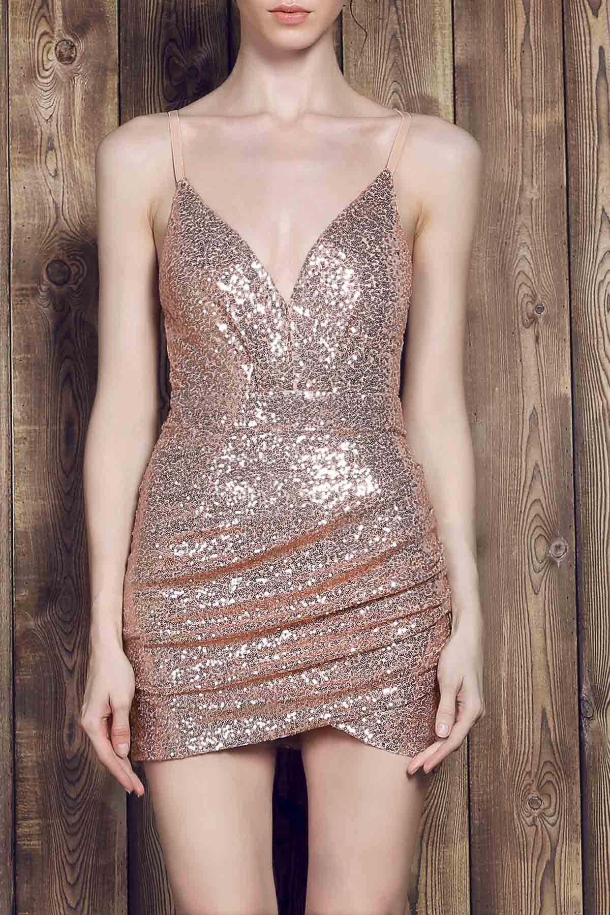 Sexy Spaghetti Strap Asymmetrical Slimming Sequined Women's Dress - GOLDEN S