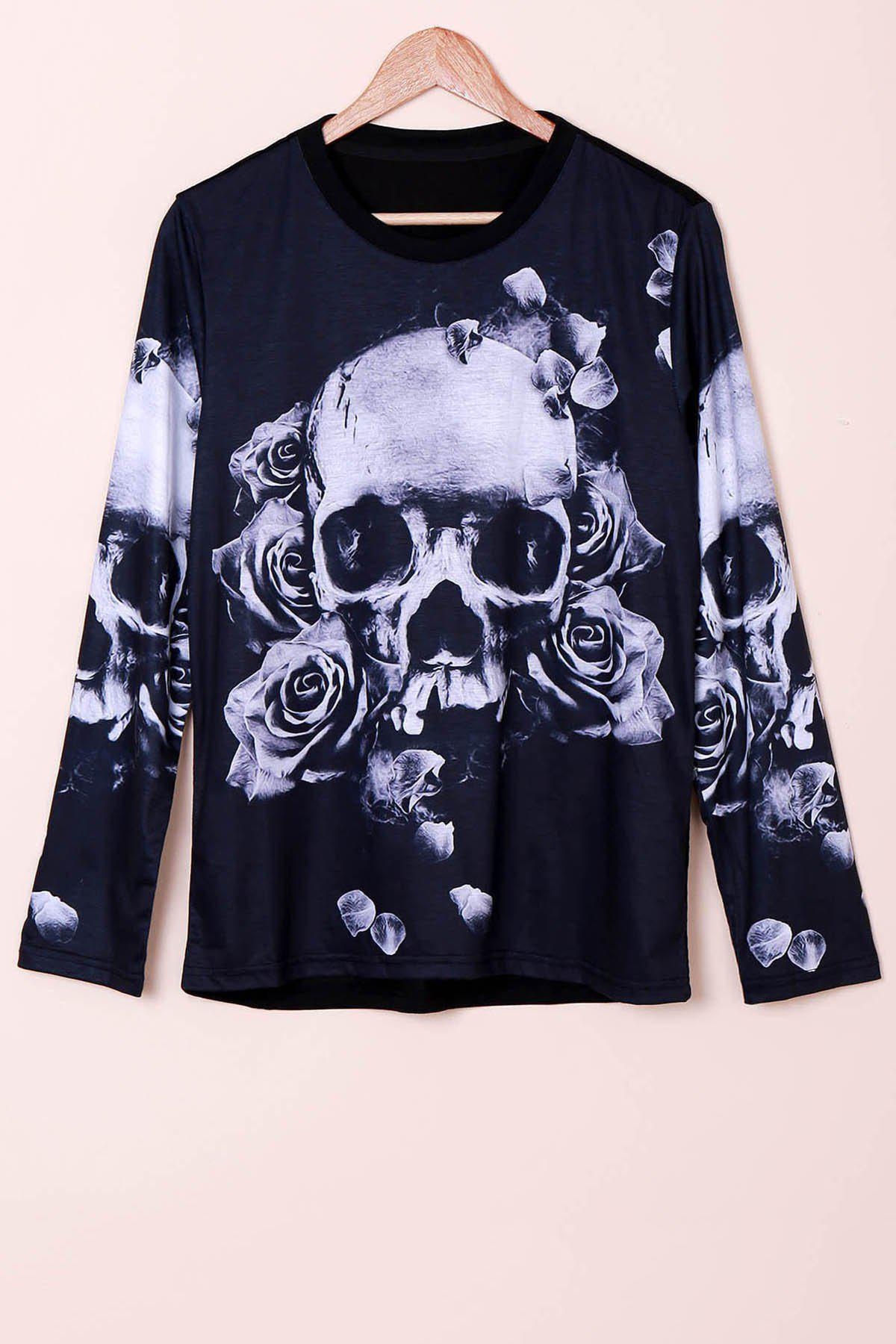 Men's Casual Long Sleeve Pullover Round Collar Skull Flower 3D Printing Sweatshirt - BLACK M