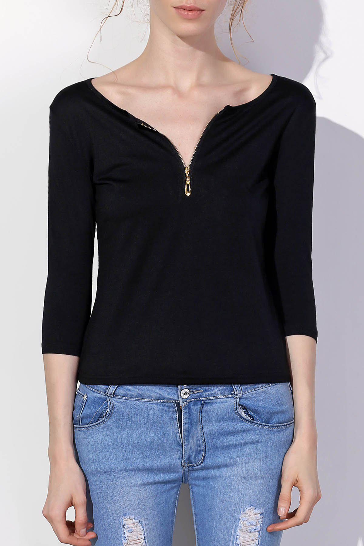 Charming Low-Cut Solid Color Zippered 3/4 Sleeve T-Shirt For Women - BLACK L