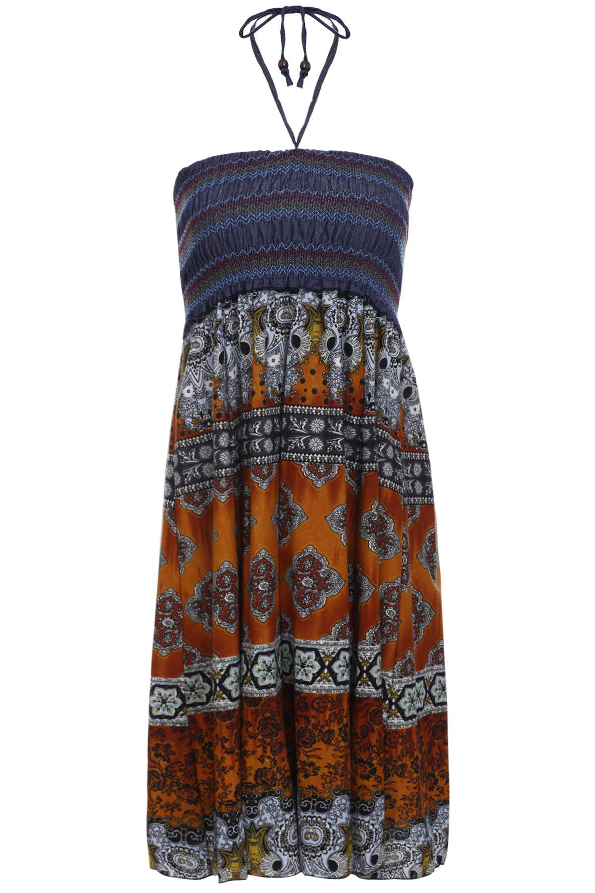 Bohemian Women's Printed Strapless Dress - ORANGE ONE SIZE(FIT SIZE XS TO M)