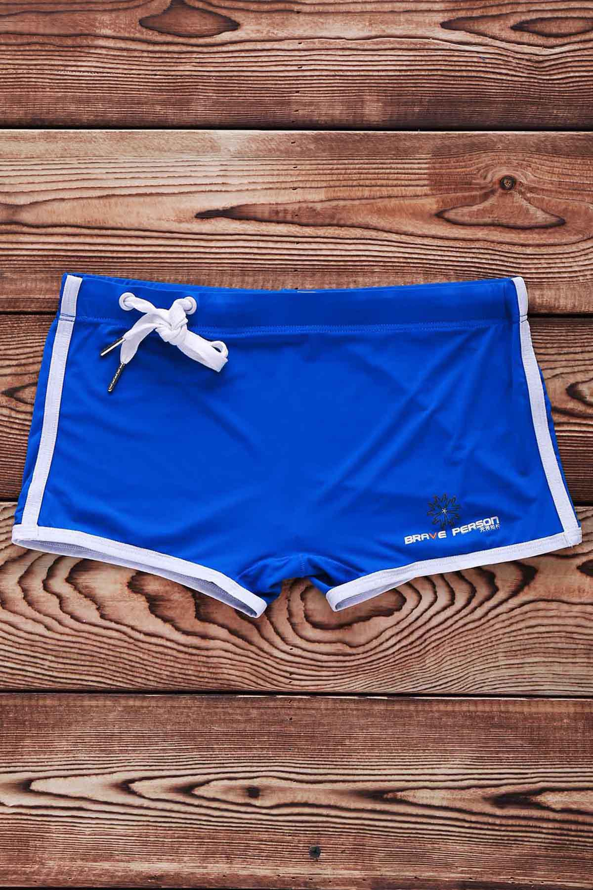Lace Up Sexy Solid Color Sports Style Men's Swimming Trunks - S BLUE