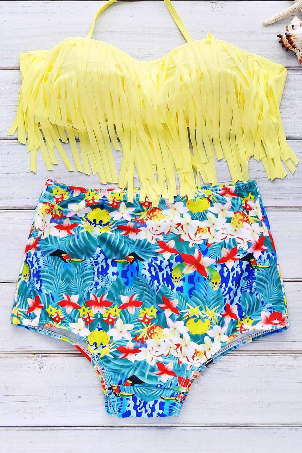 Print High Waist Bikini With Fringe Top - YELLOW M