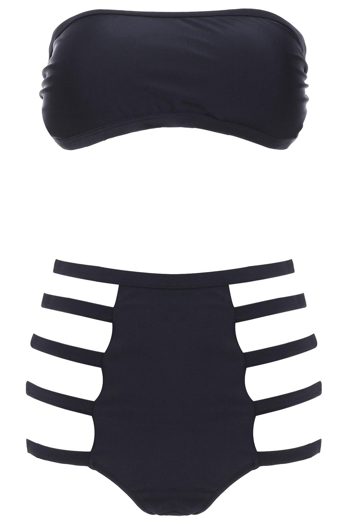 Sexy Strapless High-Waisted Cut Out Solid Color Women's Bikini Set - BLACK S