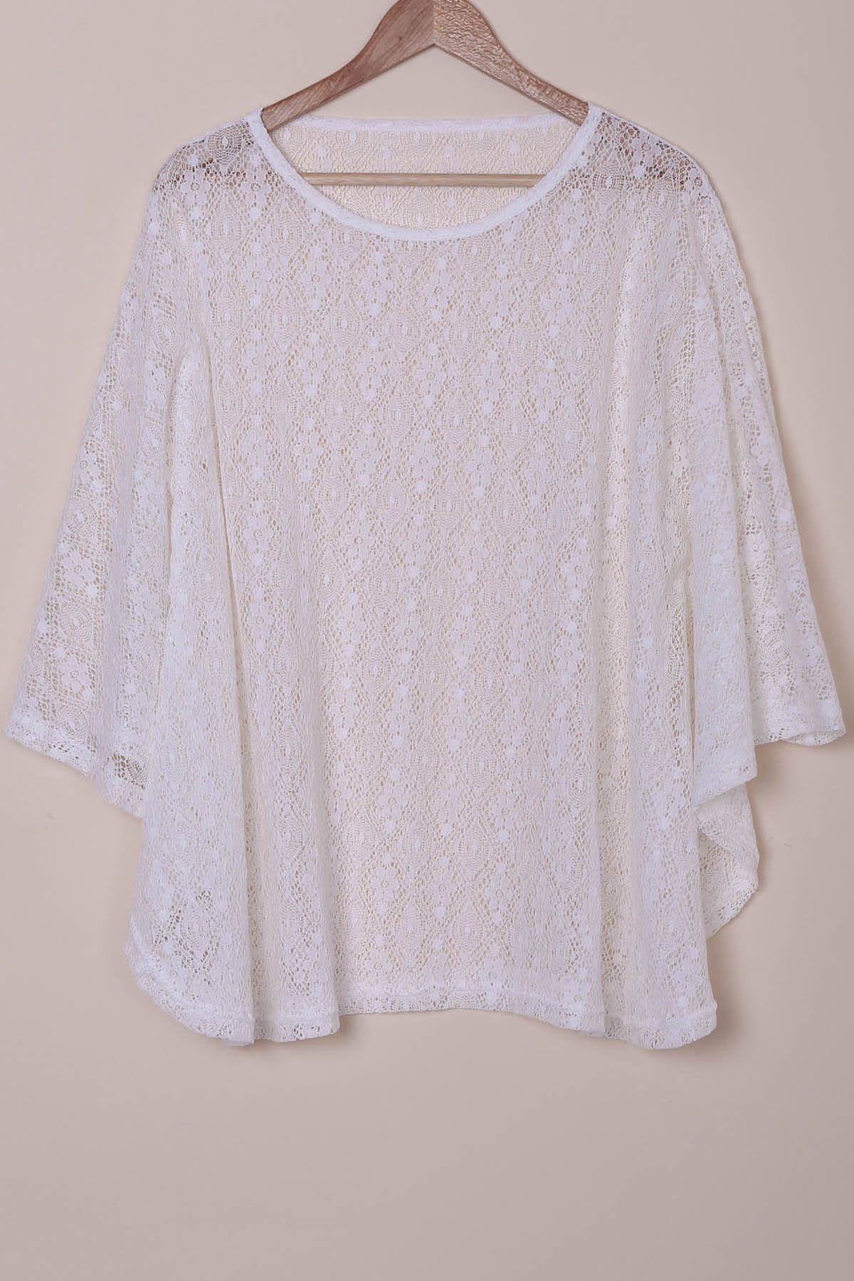 Sexy Scoop Neck Long Sleeve Hollow Out Women's Lace Cover-Up - WHITE ONE SIZE(FIT SIZE XS TO M)