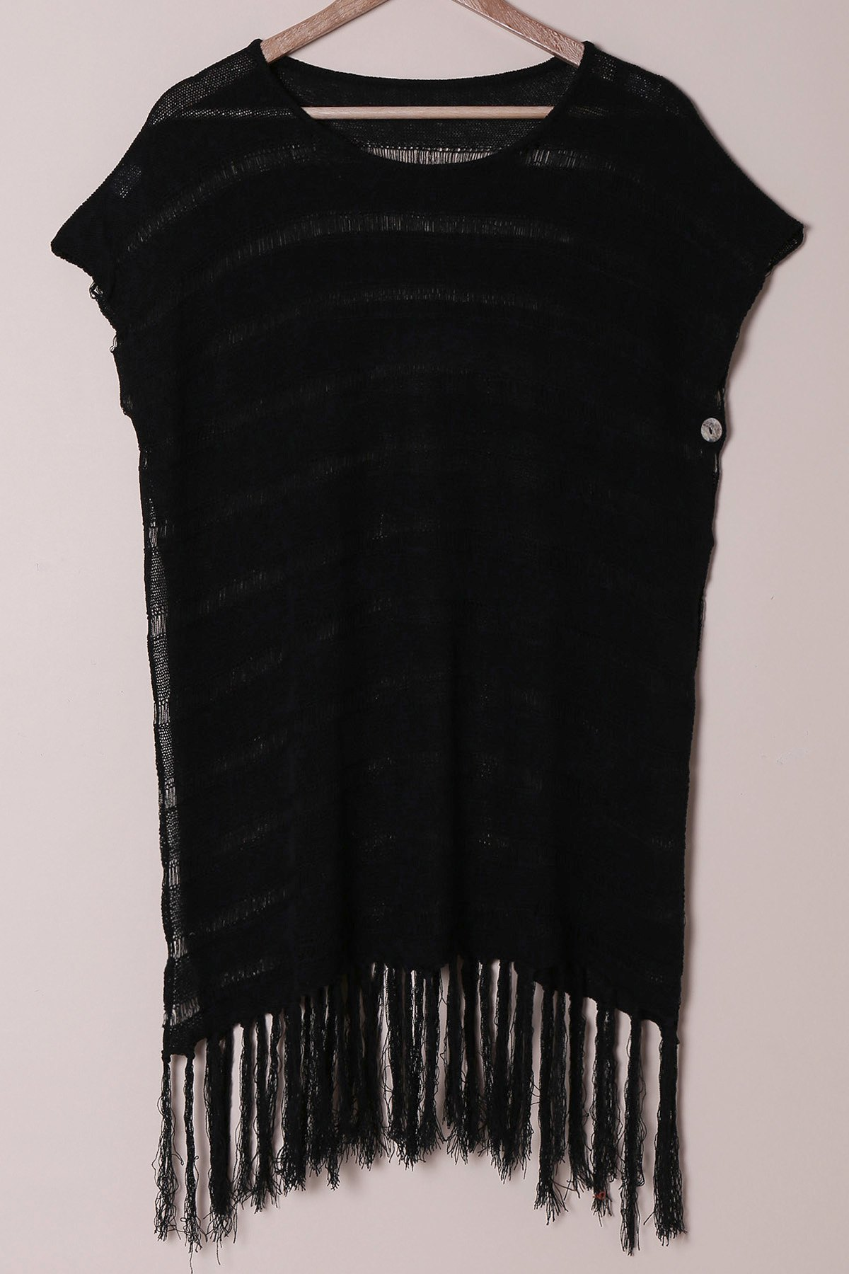 Sexy Scoop Neck Short Sleeve See-Through Fringed Women's Cover-Up - BLACK ONE SIZE(FIT SIZE XS TO M)