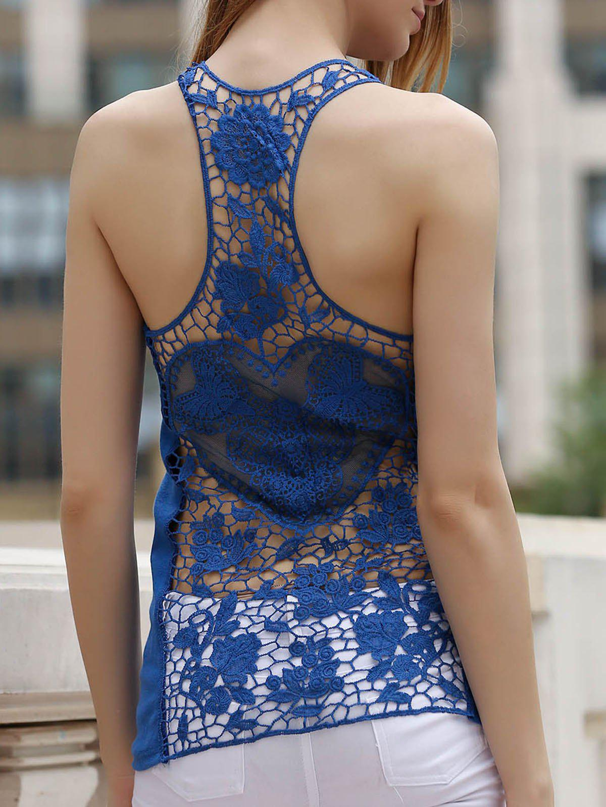2018 see thru lace racerback tank top blue l in tank top for Shirts with see through backs