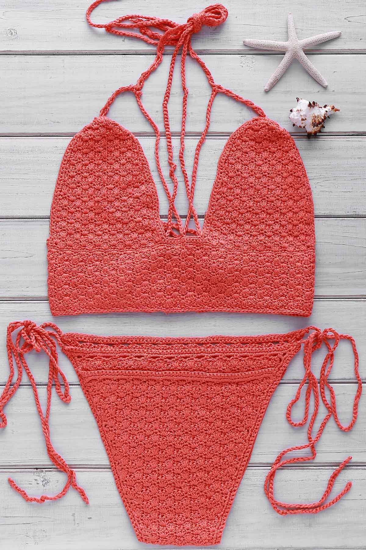 Chic Women's Halter Self-Tie Crochet Bikini Set