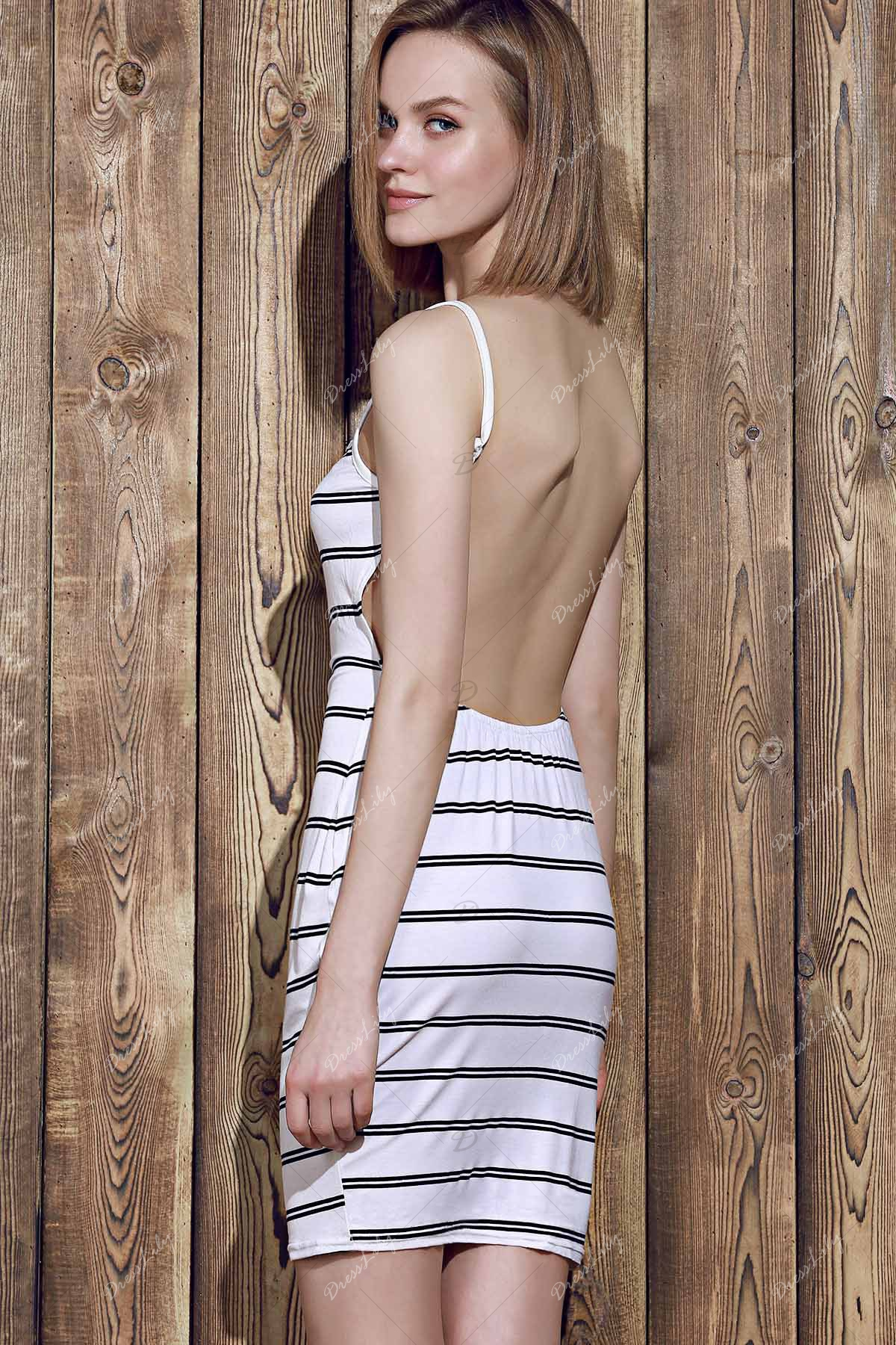 Trendy Open Back Striped Bodycon Cami Dress For Women - WHITE ONE SIZE(FIT SIZE XS TO M)