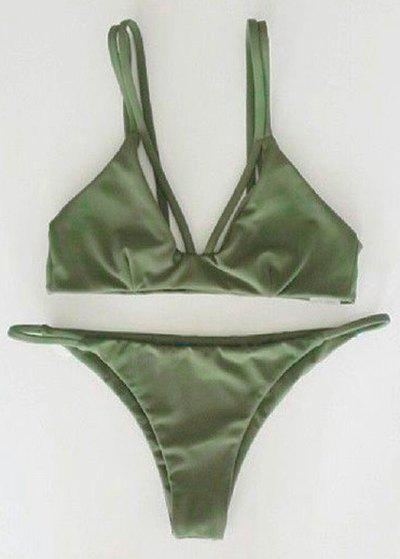 Alluring Solid Color Spaghetti Strap Scrunch Bikini Set, Green
